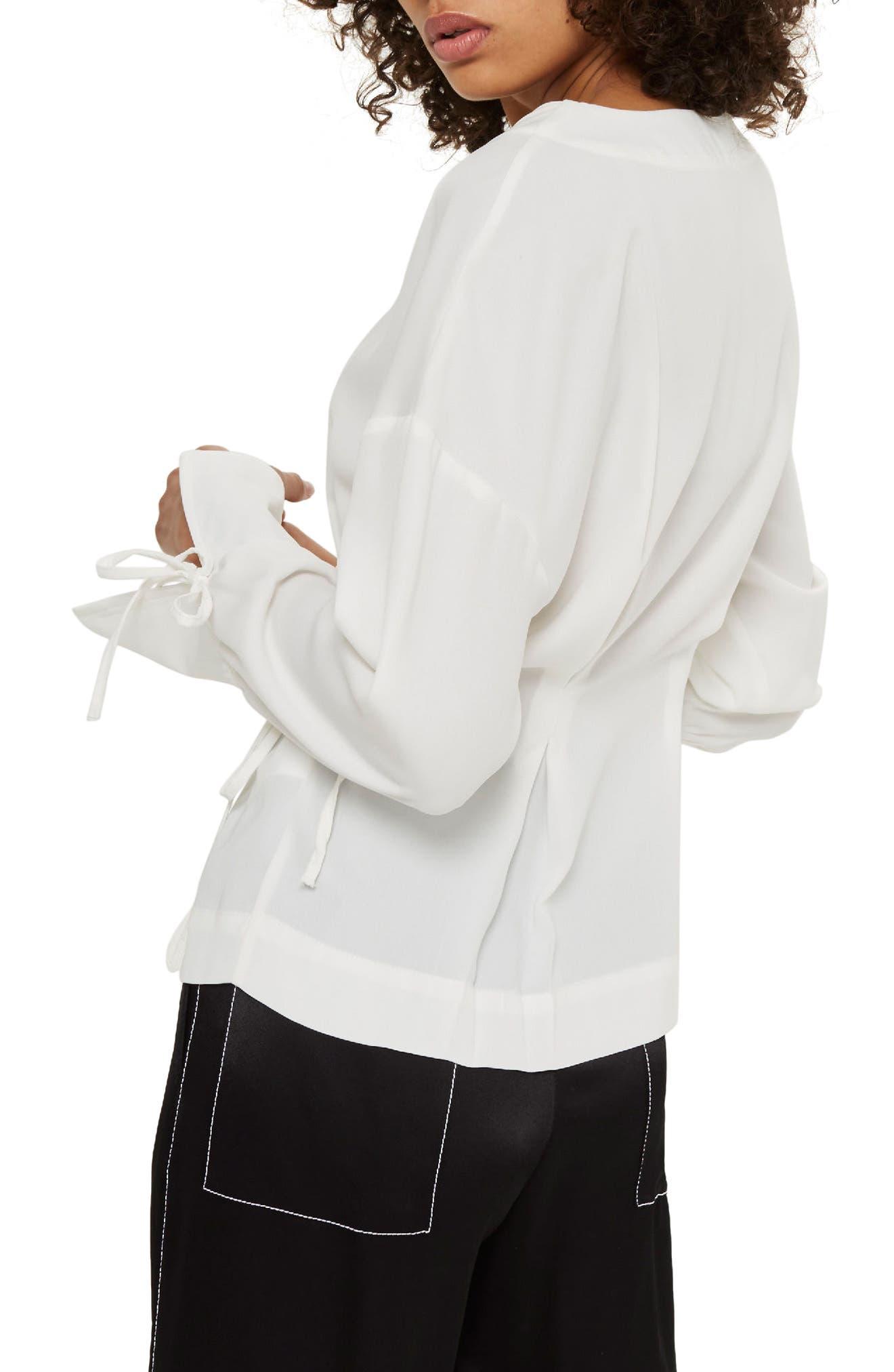 Tie Sleeve Wrap Blouse,                             Alternate thumbnail 2, color,                             Ivory