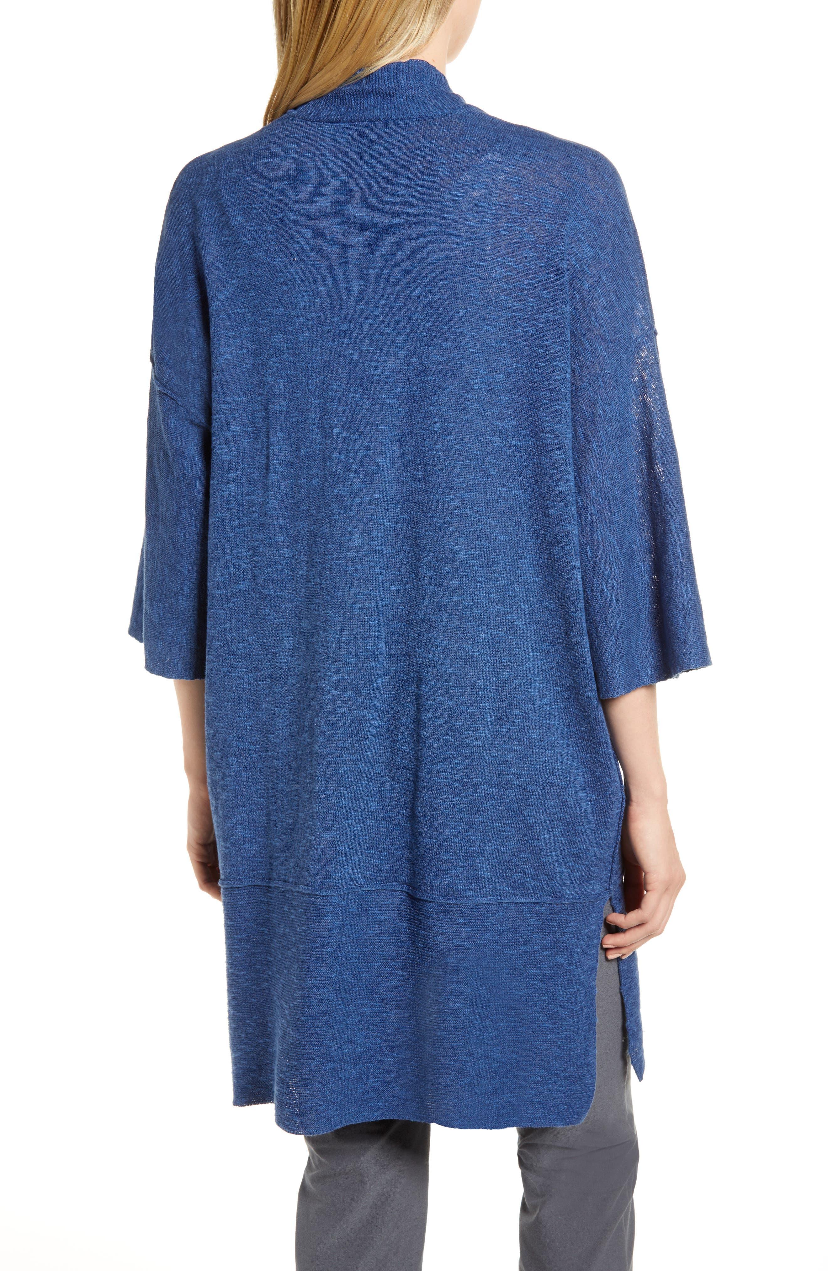 Organic Linen & Cotton Kimono Cardigan,                             Alternate thumbnail 2, color,                             Denim