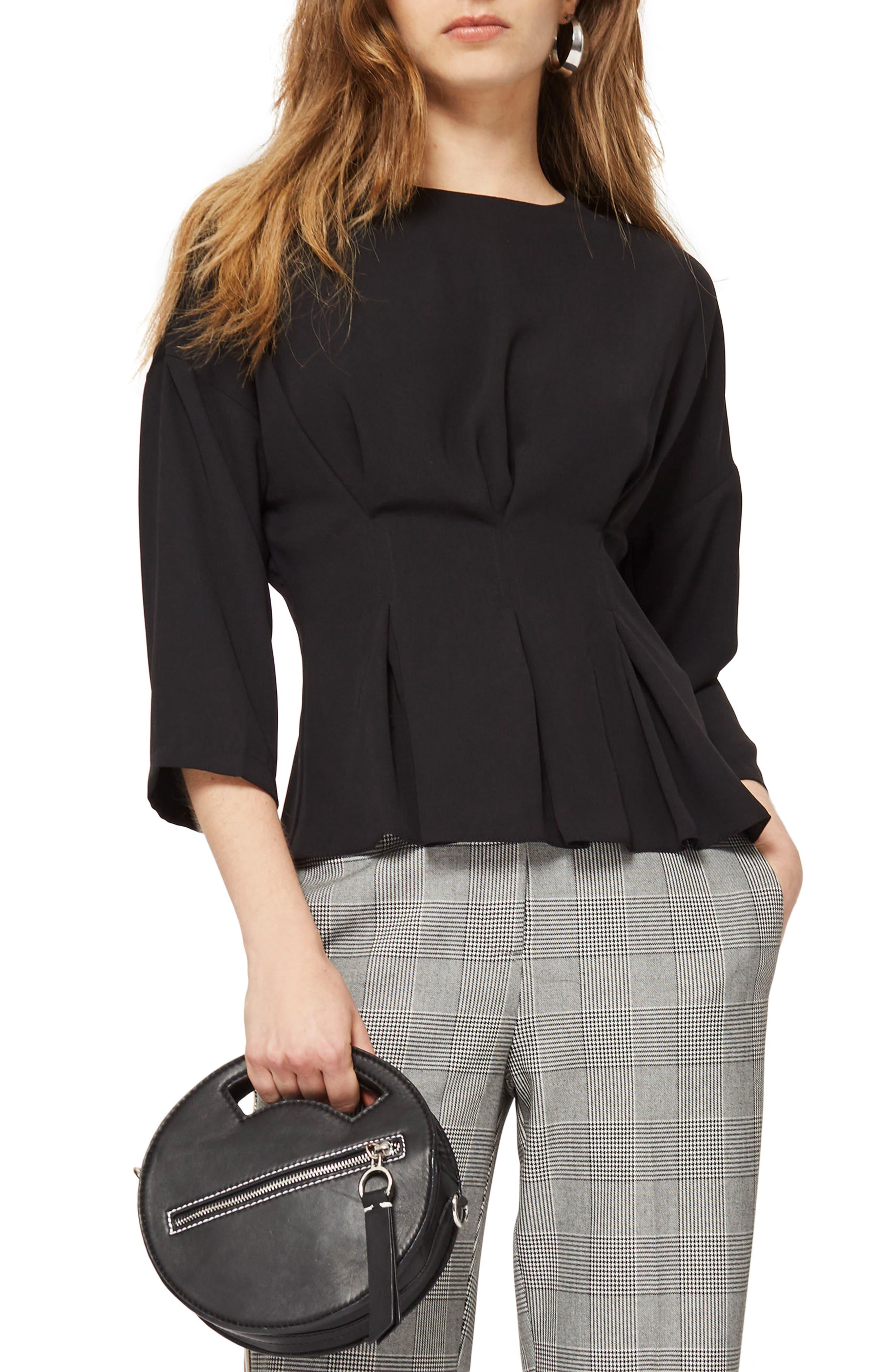 Tuck Waist Top,                         Main,                         color, Black