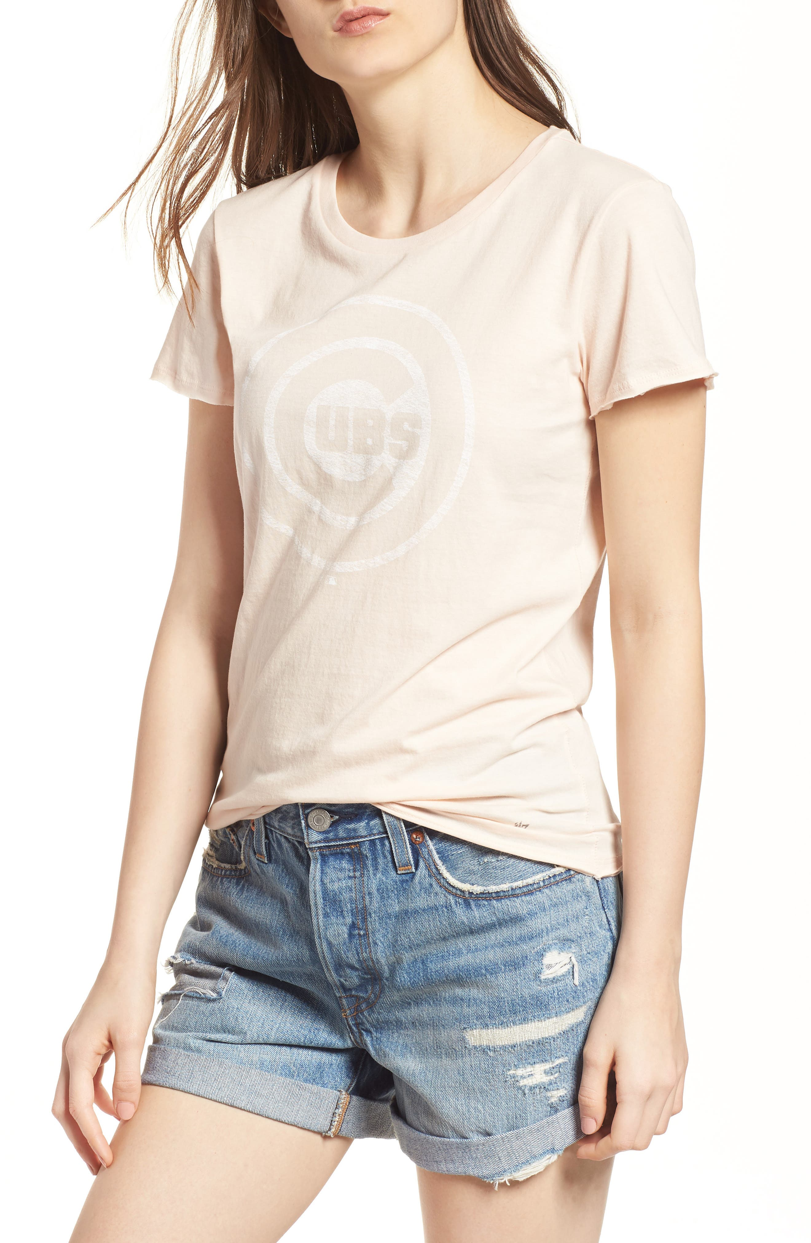 Chicago Cubs Fader Letter Tee,                         Main,                         color, Blush