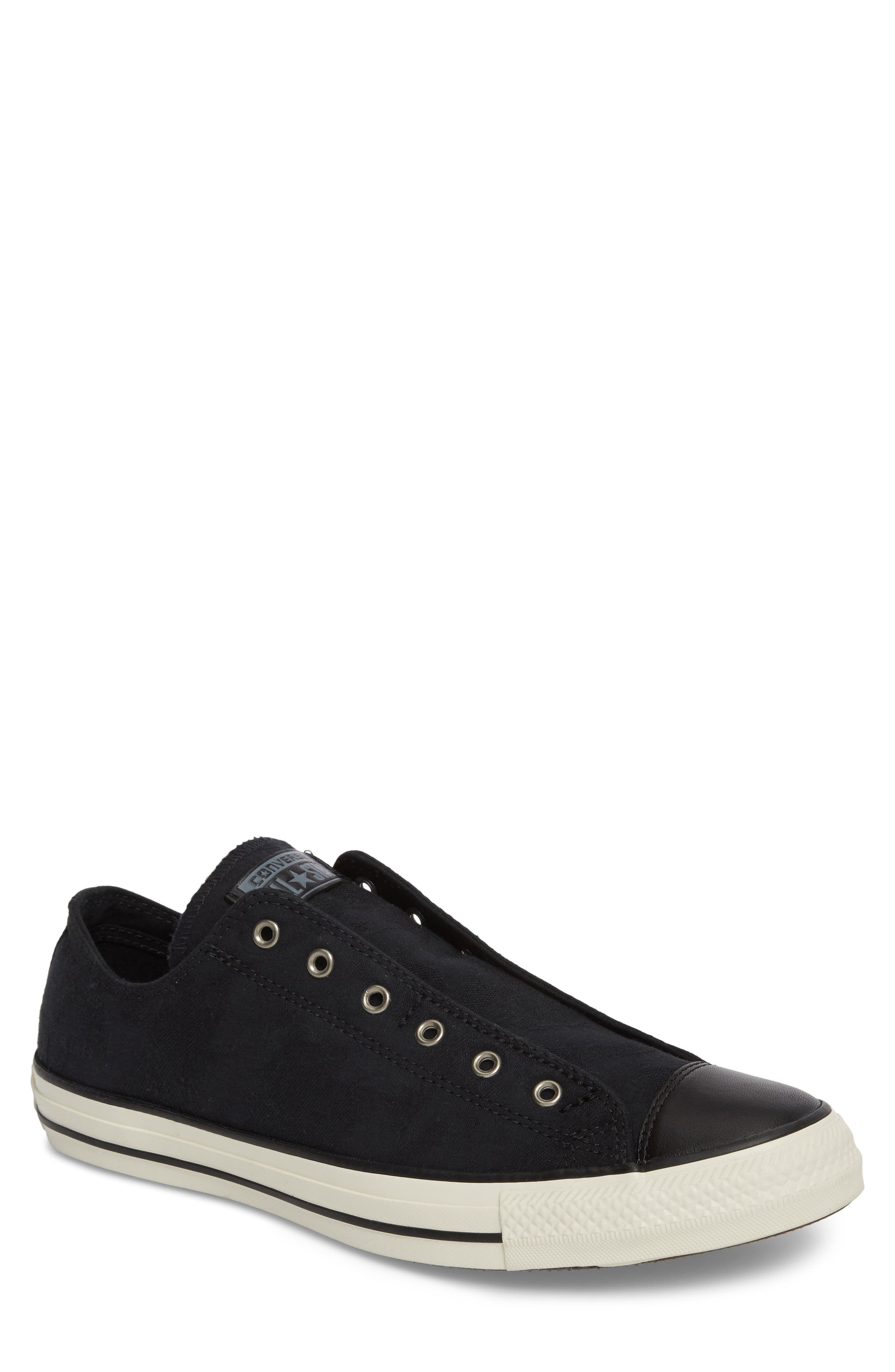 Chuck Taylor<sup>®</sup> All Star<sup>®</sup> Laceless Low Top Sneaker,                             Main thumbnail 1, color,                             Black