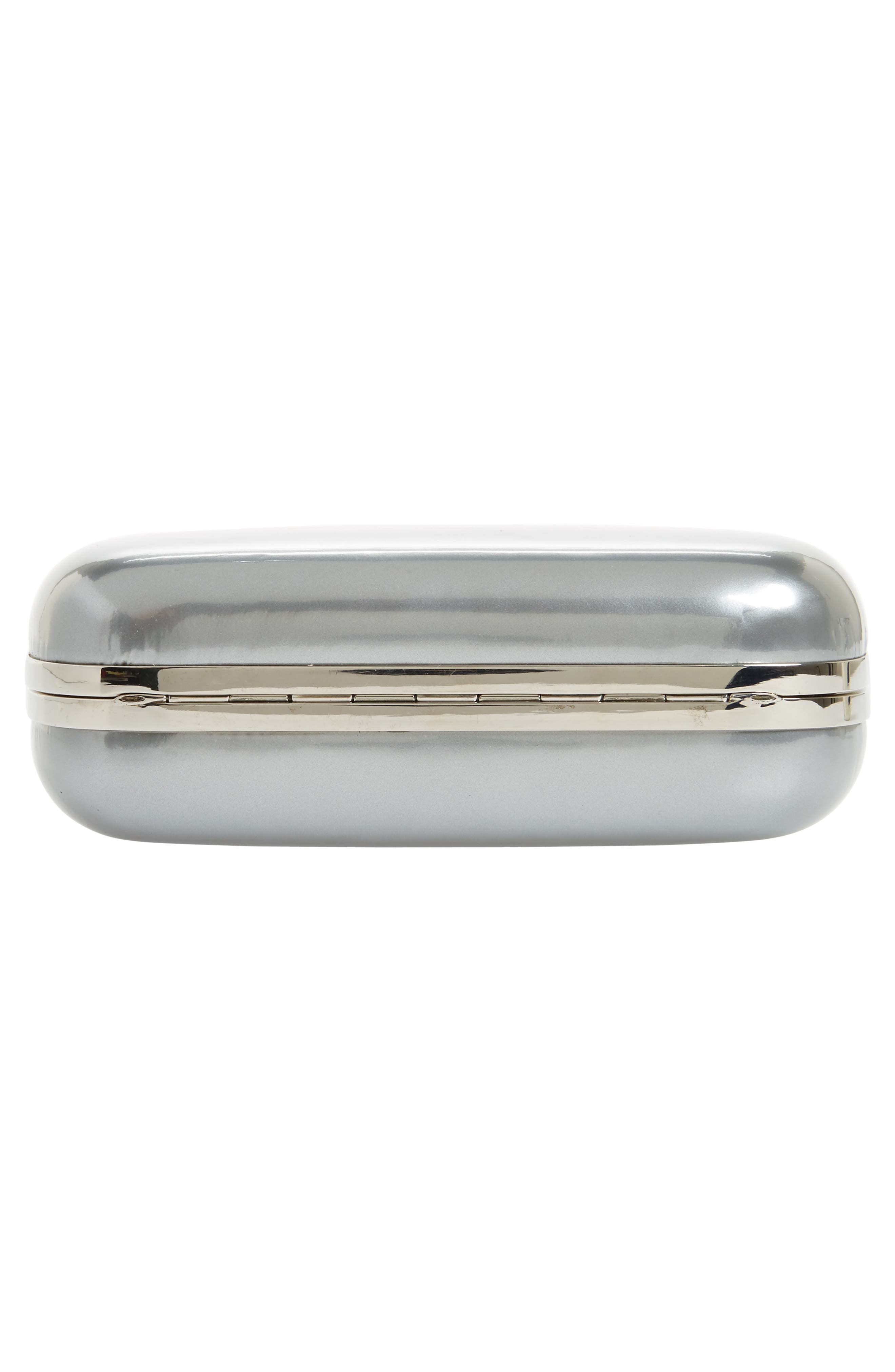 Knuckle Clasp Metallic Leather Box Clutch,                             Alternate thumbnail 6, color,                             Silver