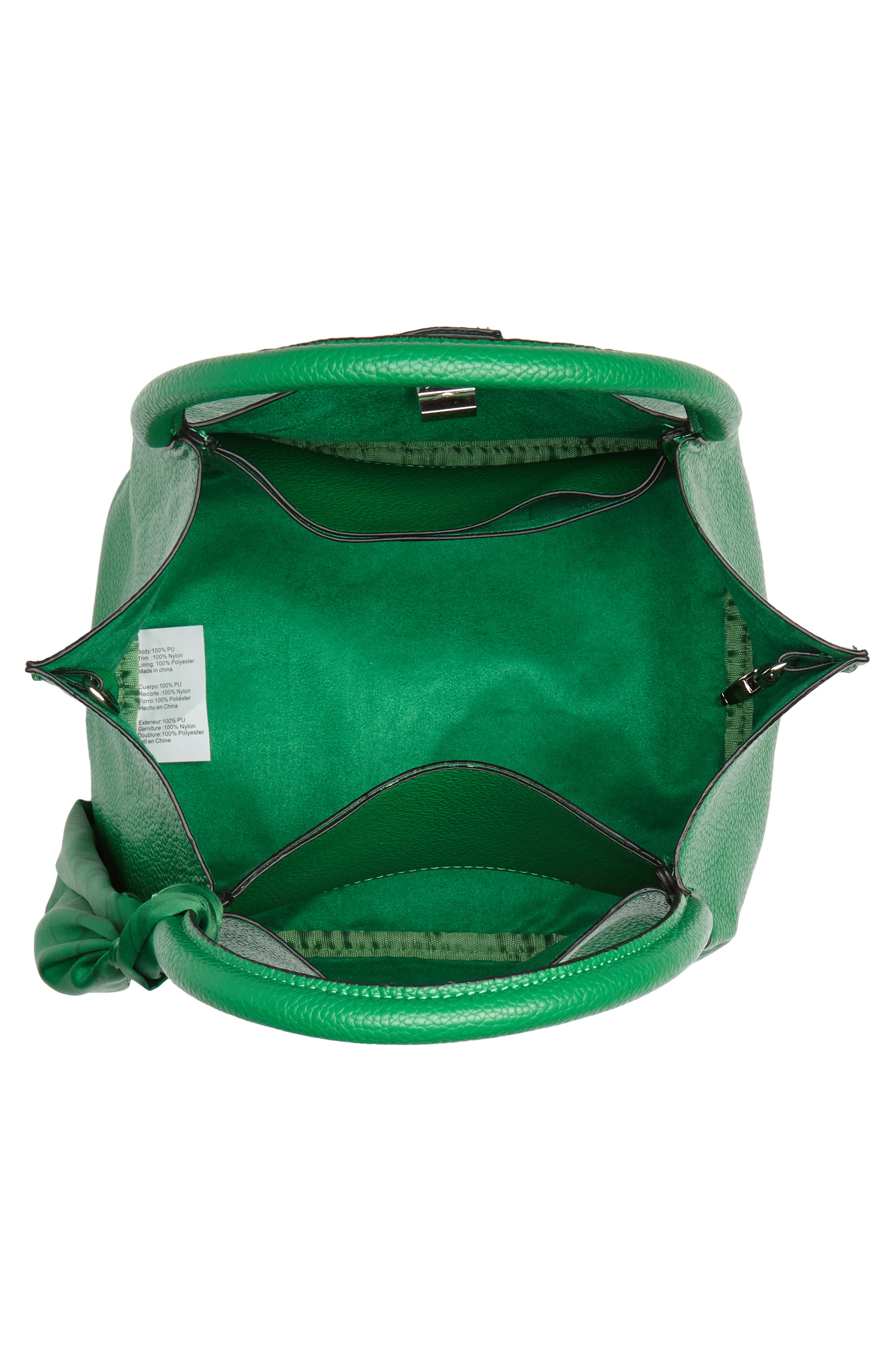 Medium Faux Leather Satchel with Scarf,                             Alternate thumbnail 4, color,                             Green