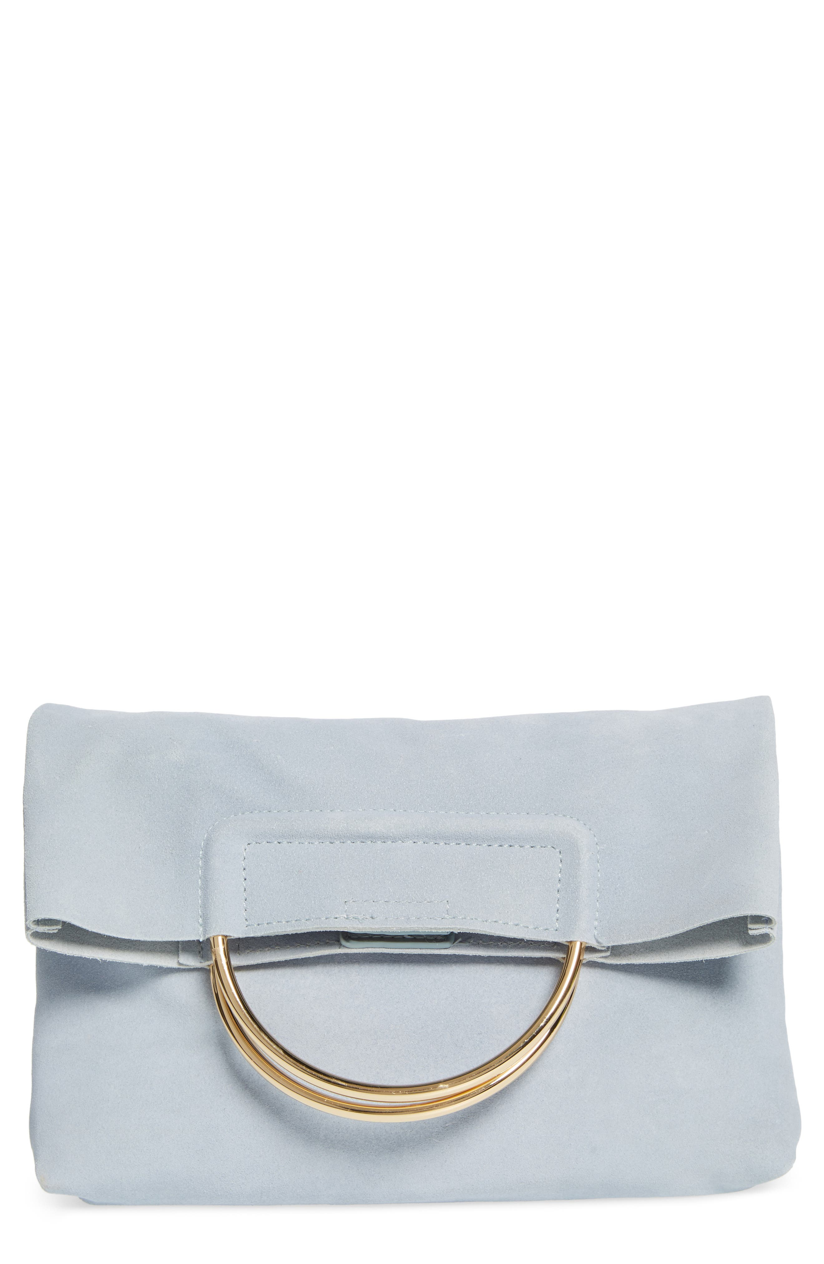 Suede Foldover Clutch,                         Main,                         color, Cloudy Blue