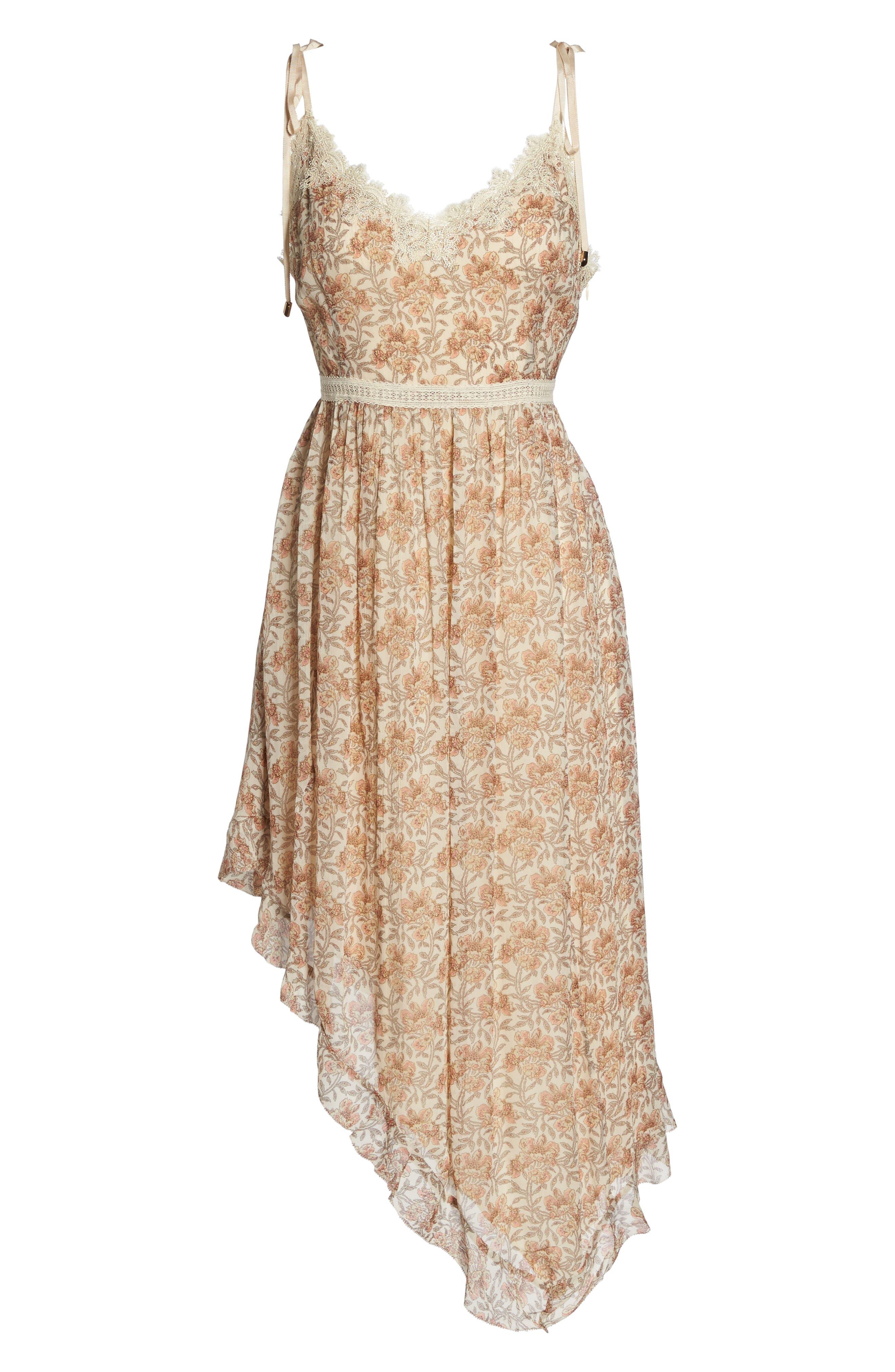 Aubrey Floral Print Dress,                             Alternate thumbnail 7, color,                             Desert Sunrise Floral