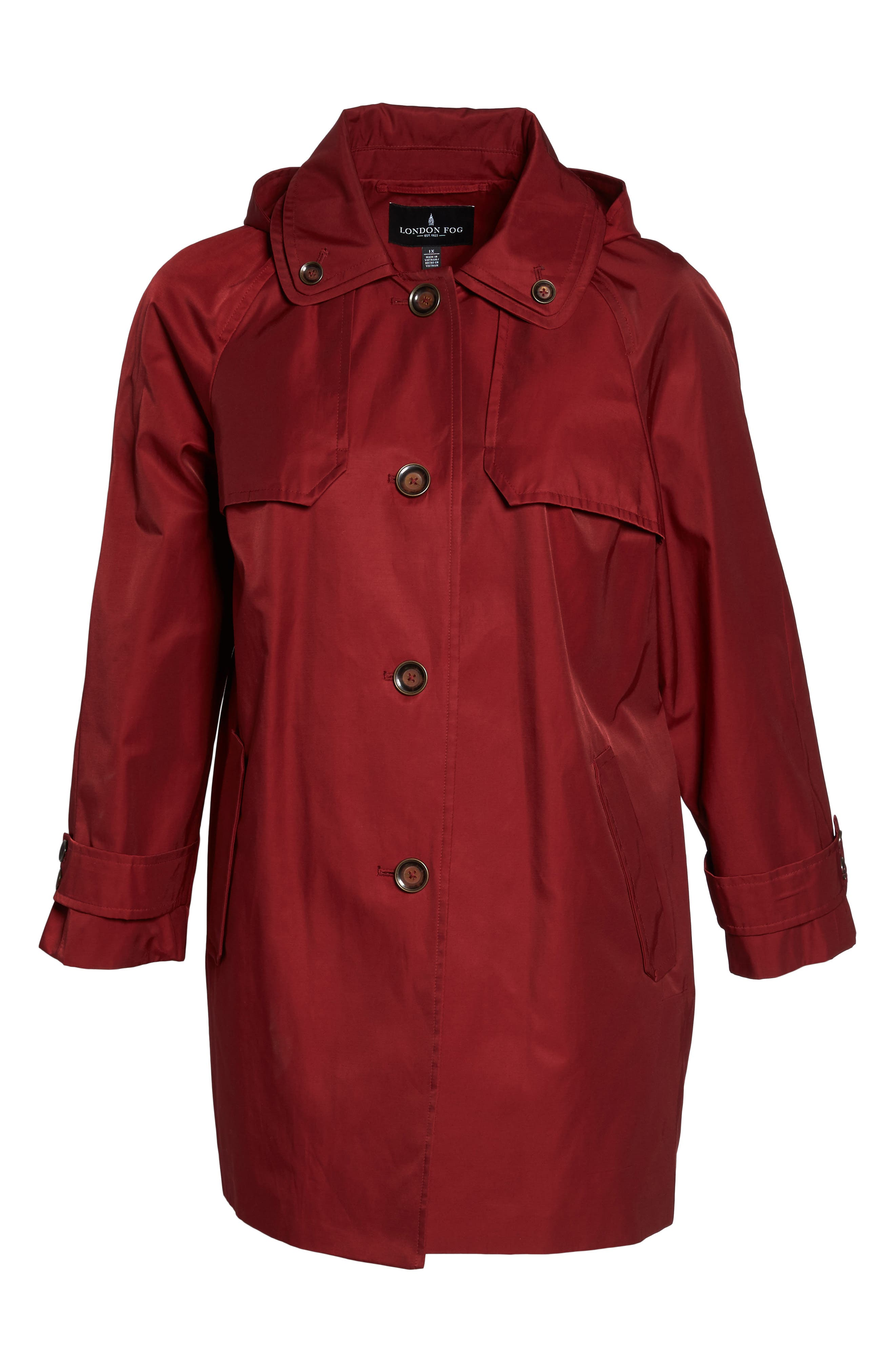 Removable Hood Rain Jacket,                             Alternate thumbnail 6, color,                             Red