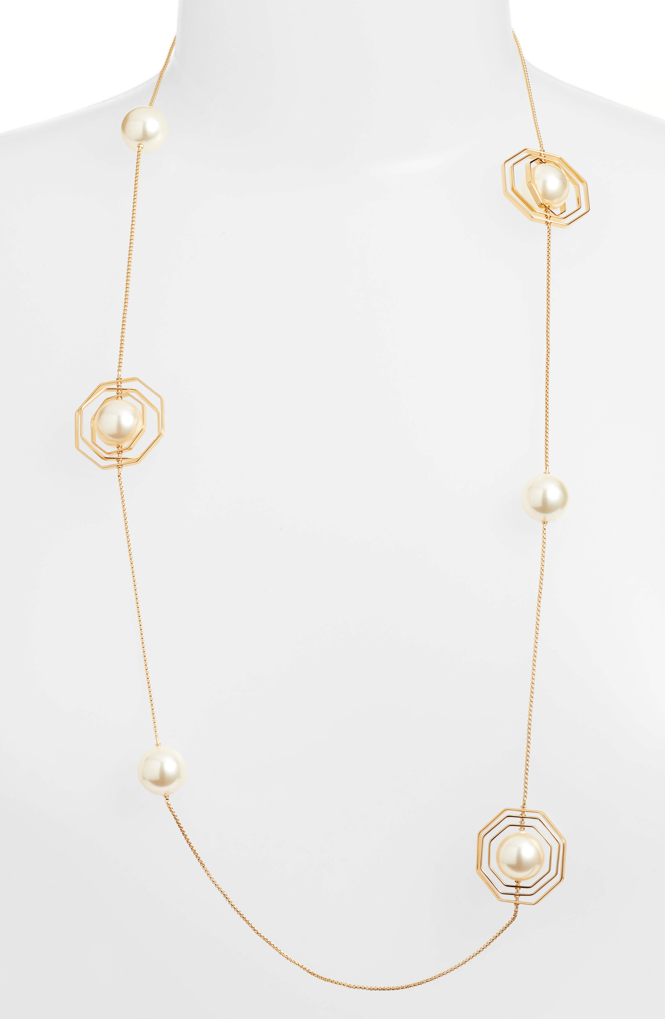 Geo Imitation Pearl Rosary Necklace,                         Main,                         color, Tory Gold/ Pearl