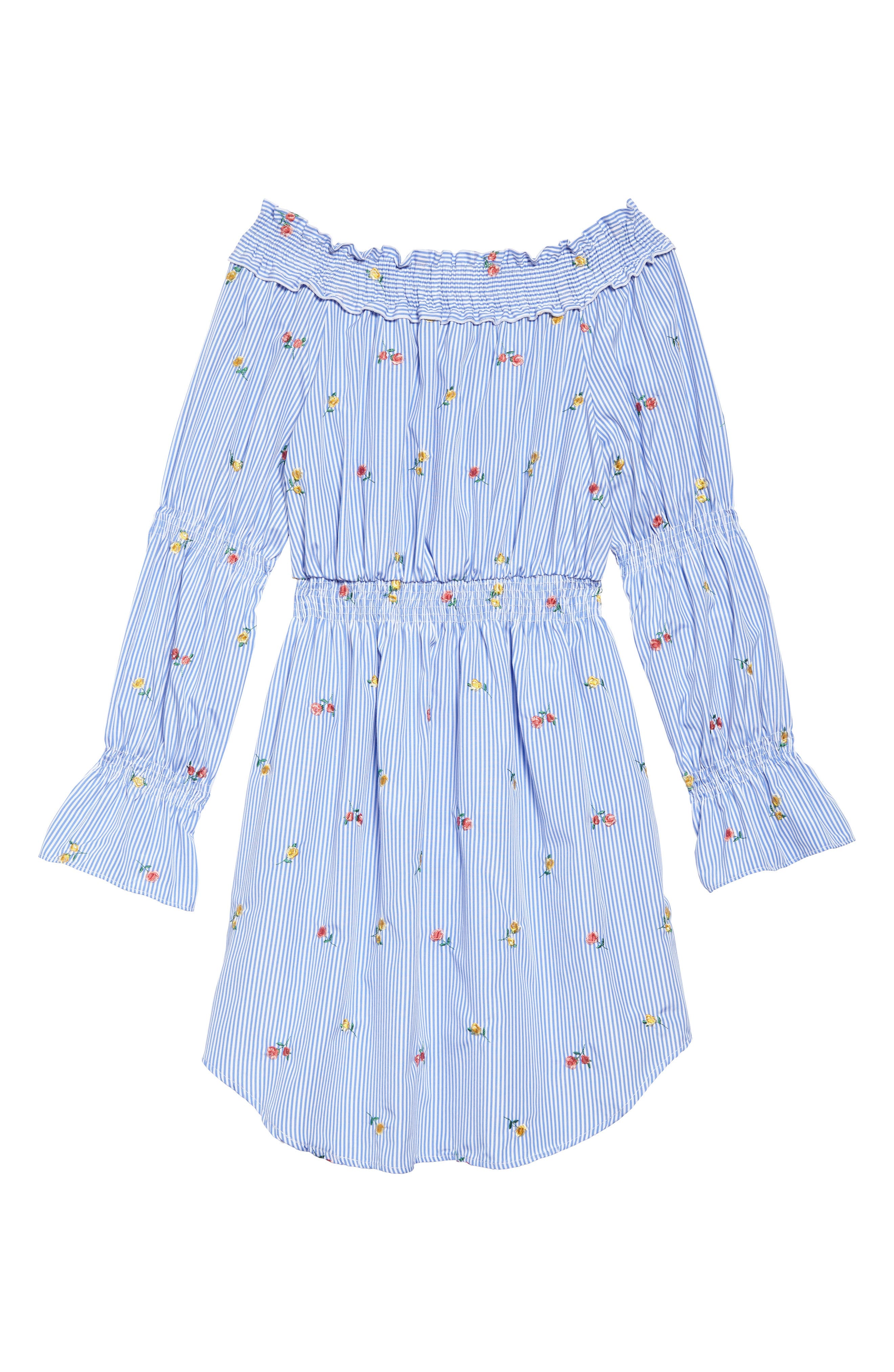 Floral Embroidery Stripe Off the Shoulder Dress,                             Main thumbnail 1, color,                             Light Blue/ White
