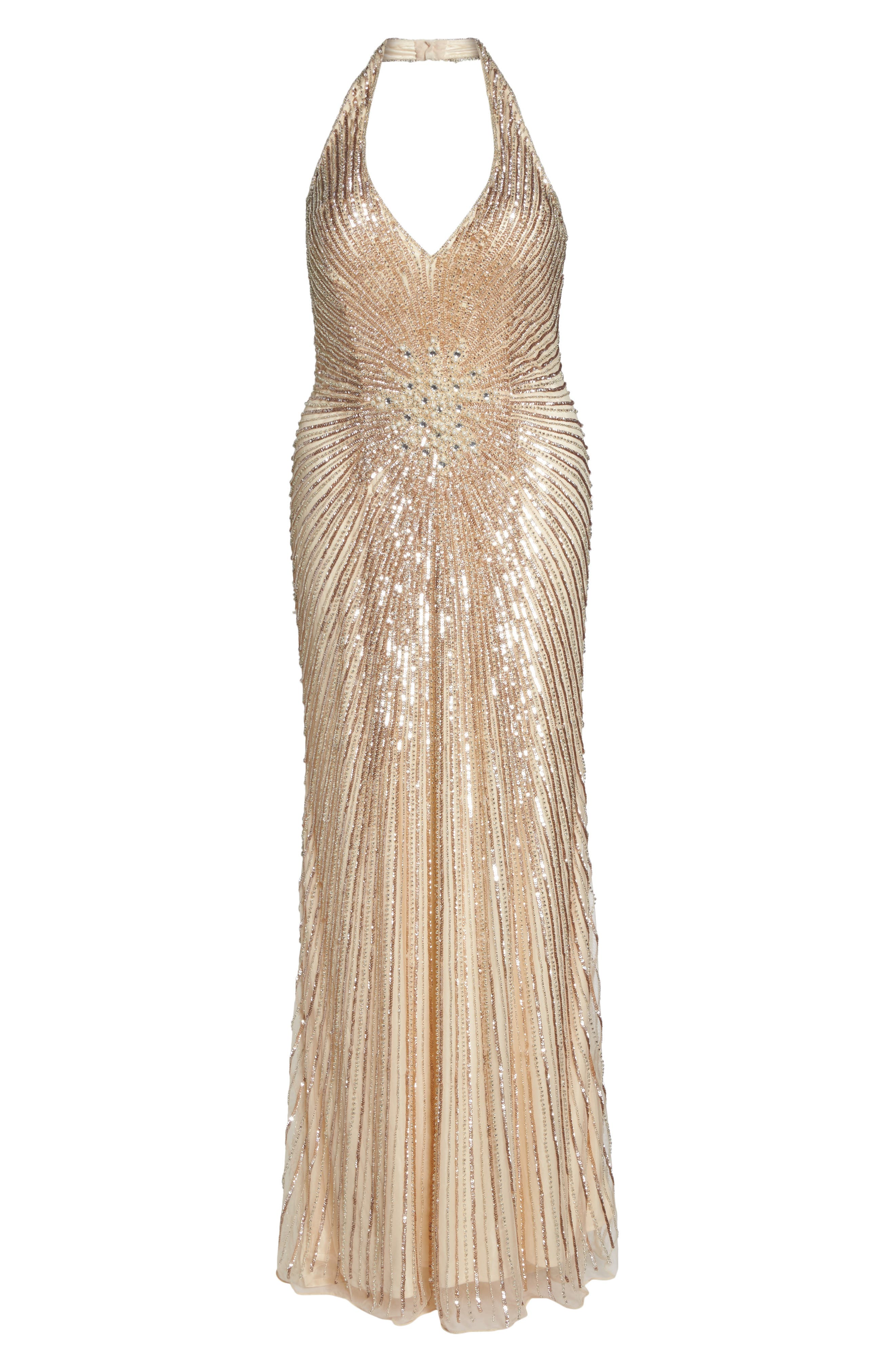 Sequin Halter Gown,                             Alternate thumbnail 6, color,                             Nude