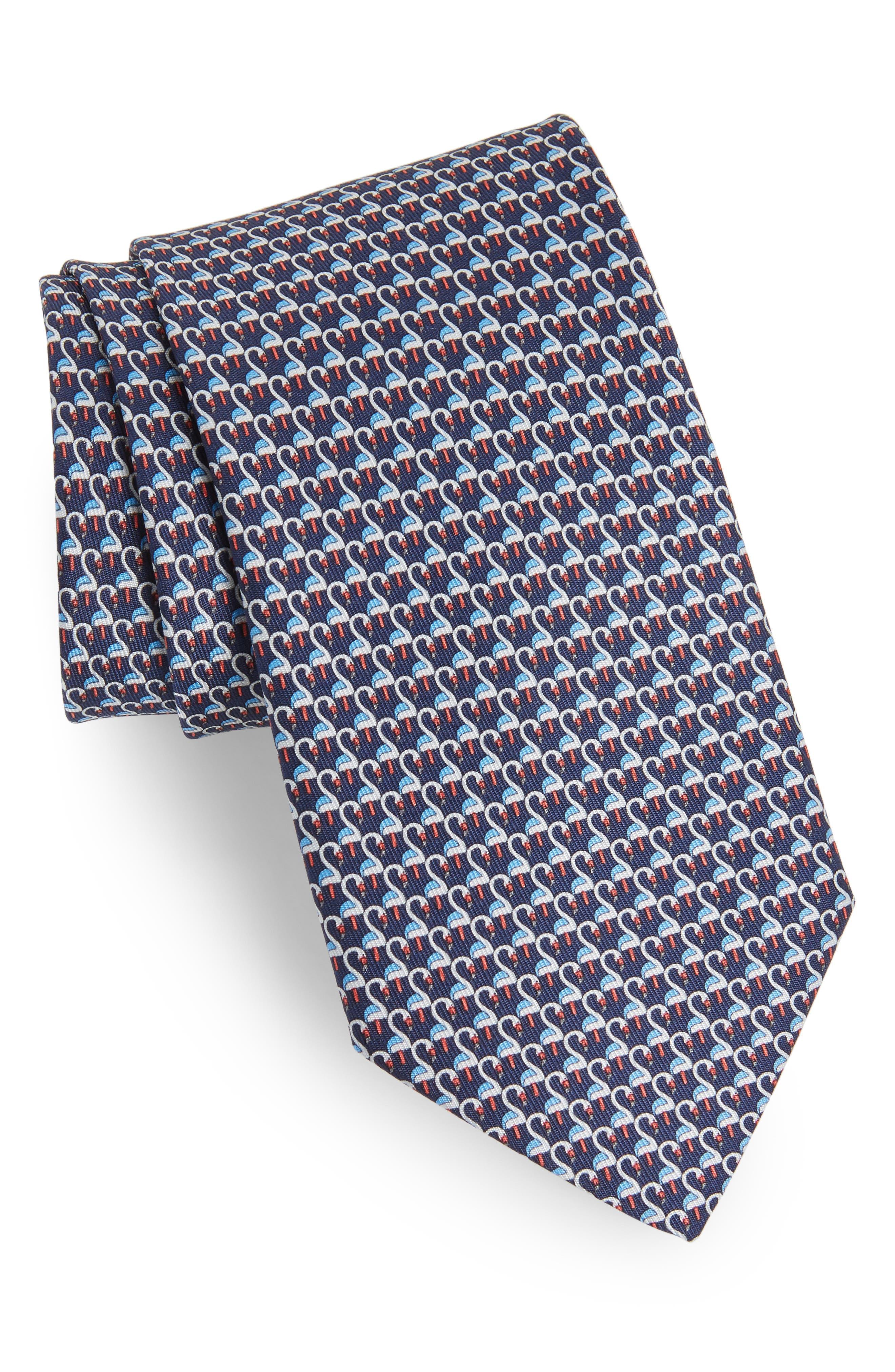 Ester Print Silk Tie,                         Main,                         color, Navy