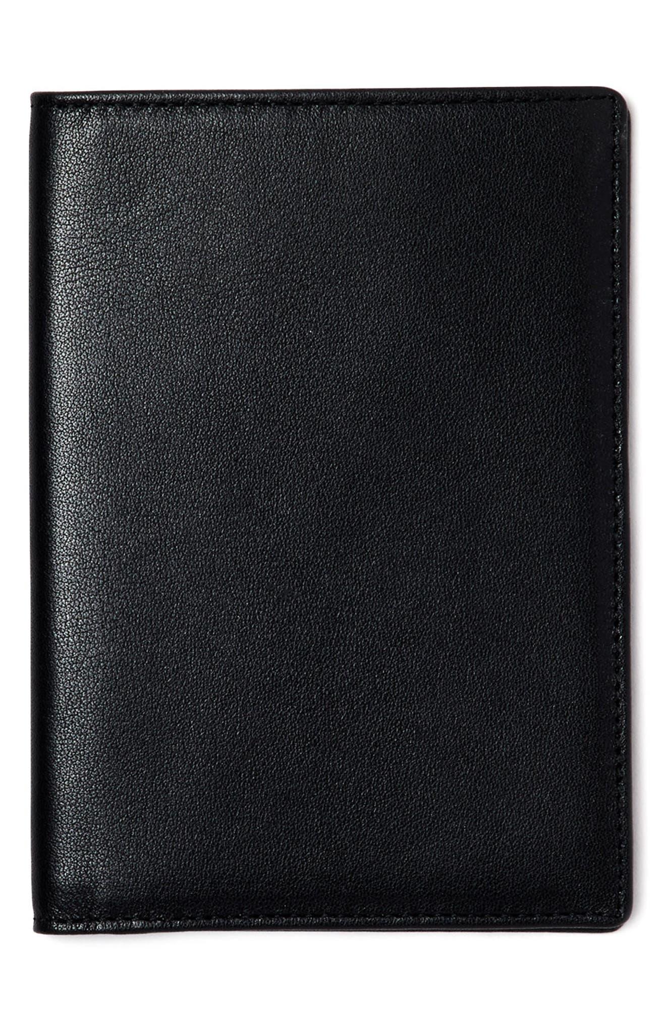 Personalized Leather Passport Case,                         Main,                         color, Noir