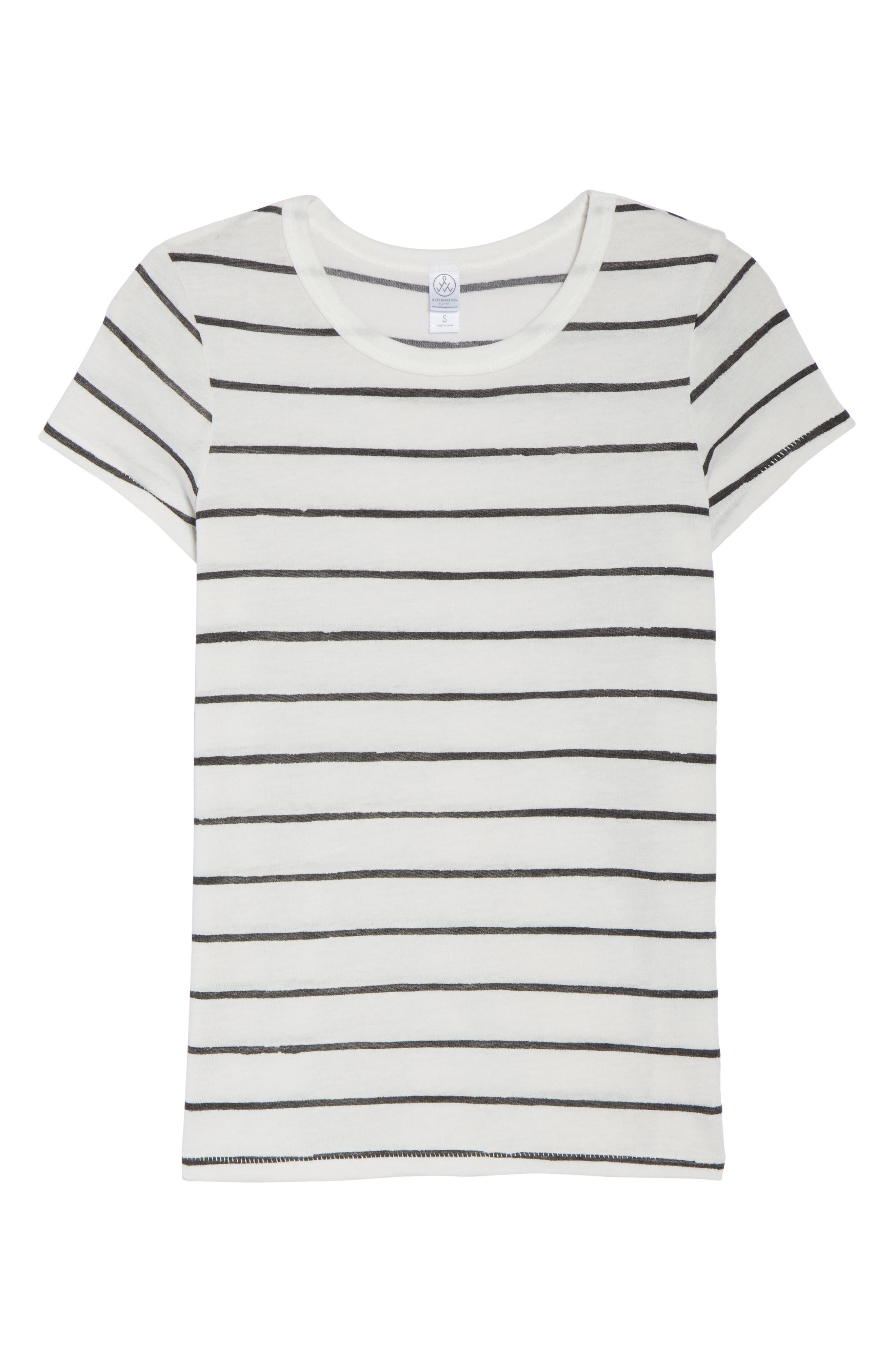 Ideal Print Tee,                             Alternate thumbnail 4, color,                             Eco Ivory Ink Stripe