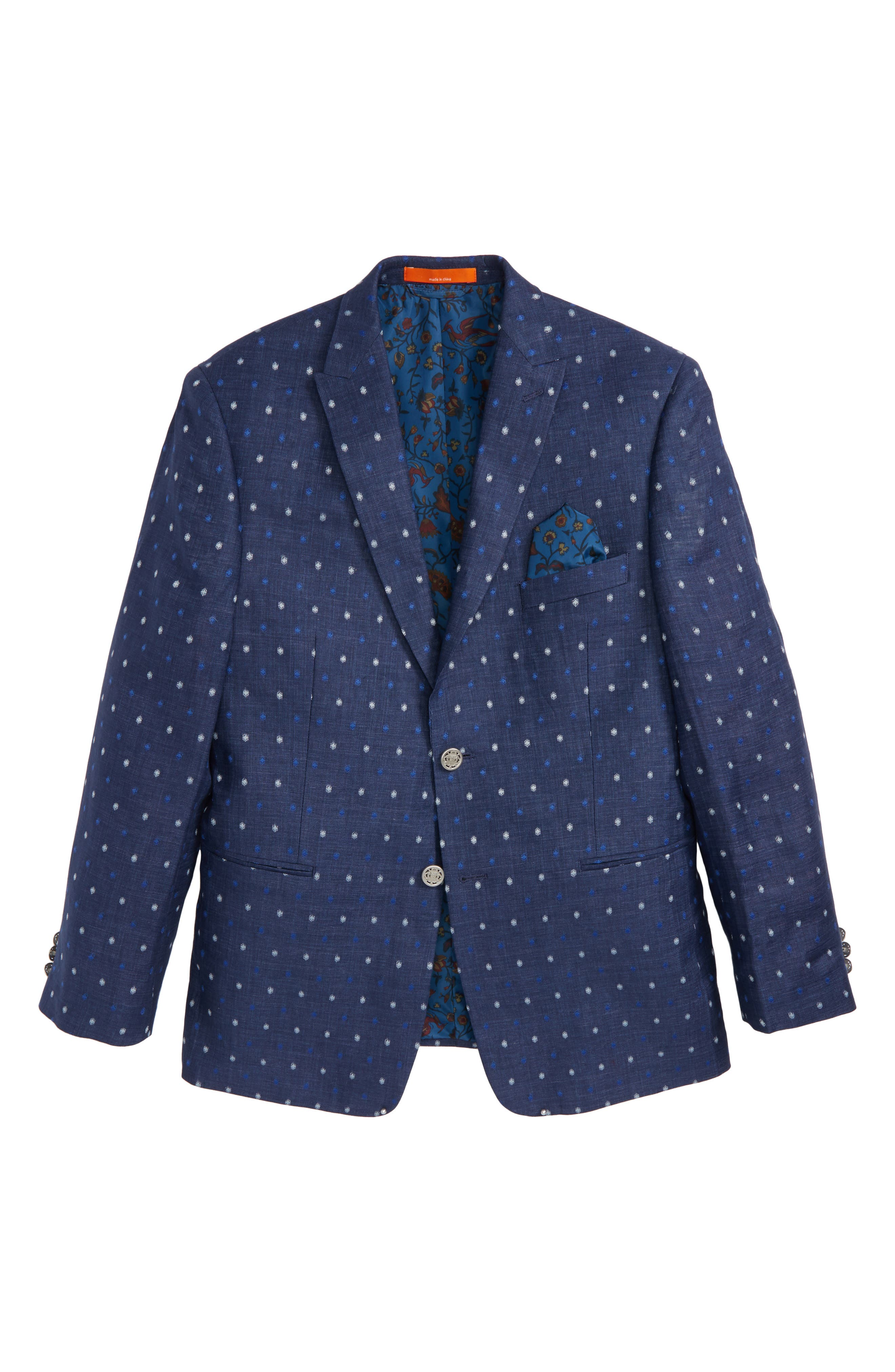 Dot Linen Blazer,                         Main,                         color, Navy/ Blue/ White
