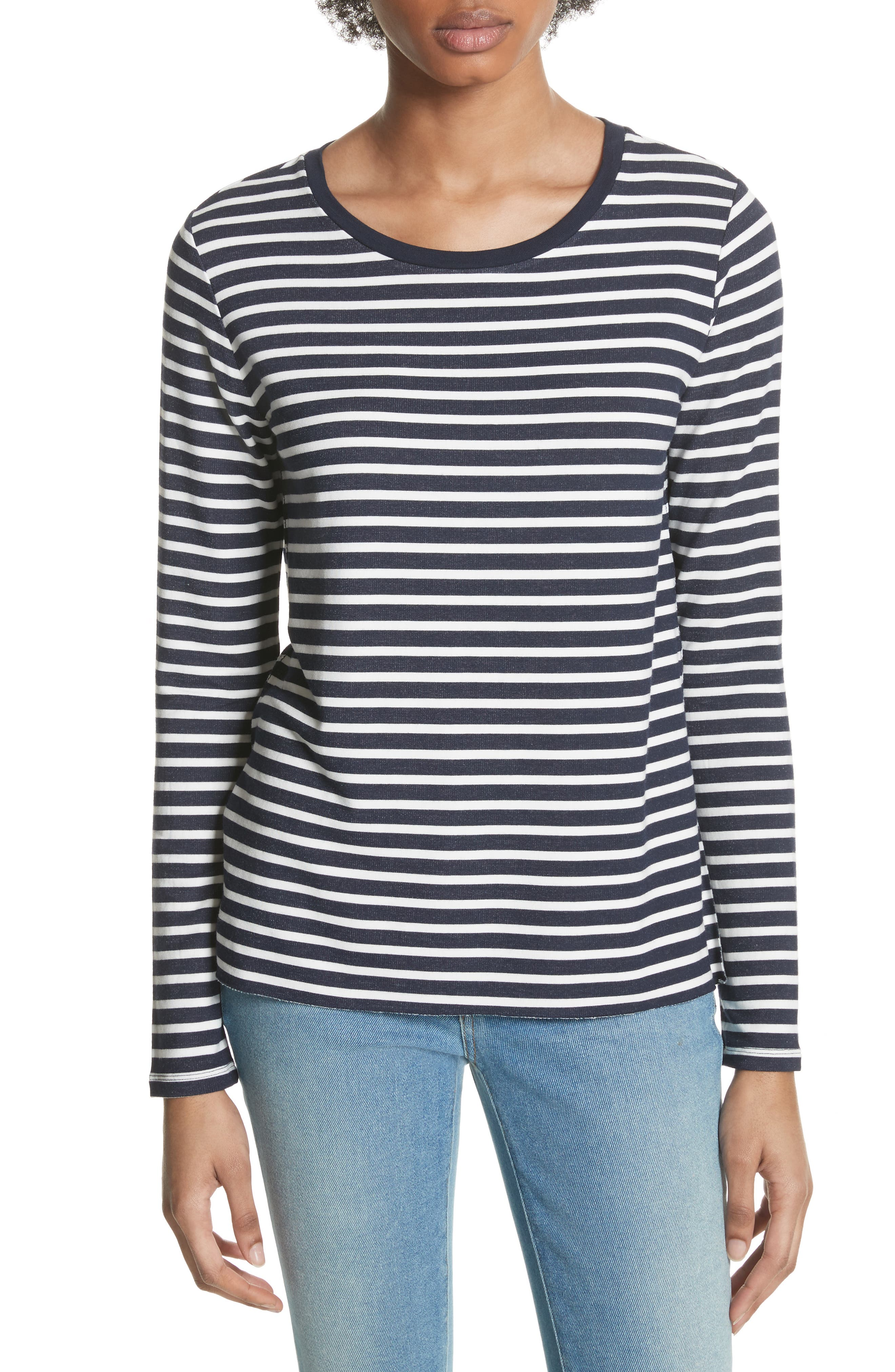 Stripe Sweatshirt,                             Main thumbnail 1, color,                             Marine/ Milk