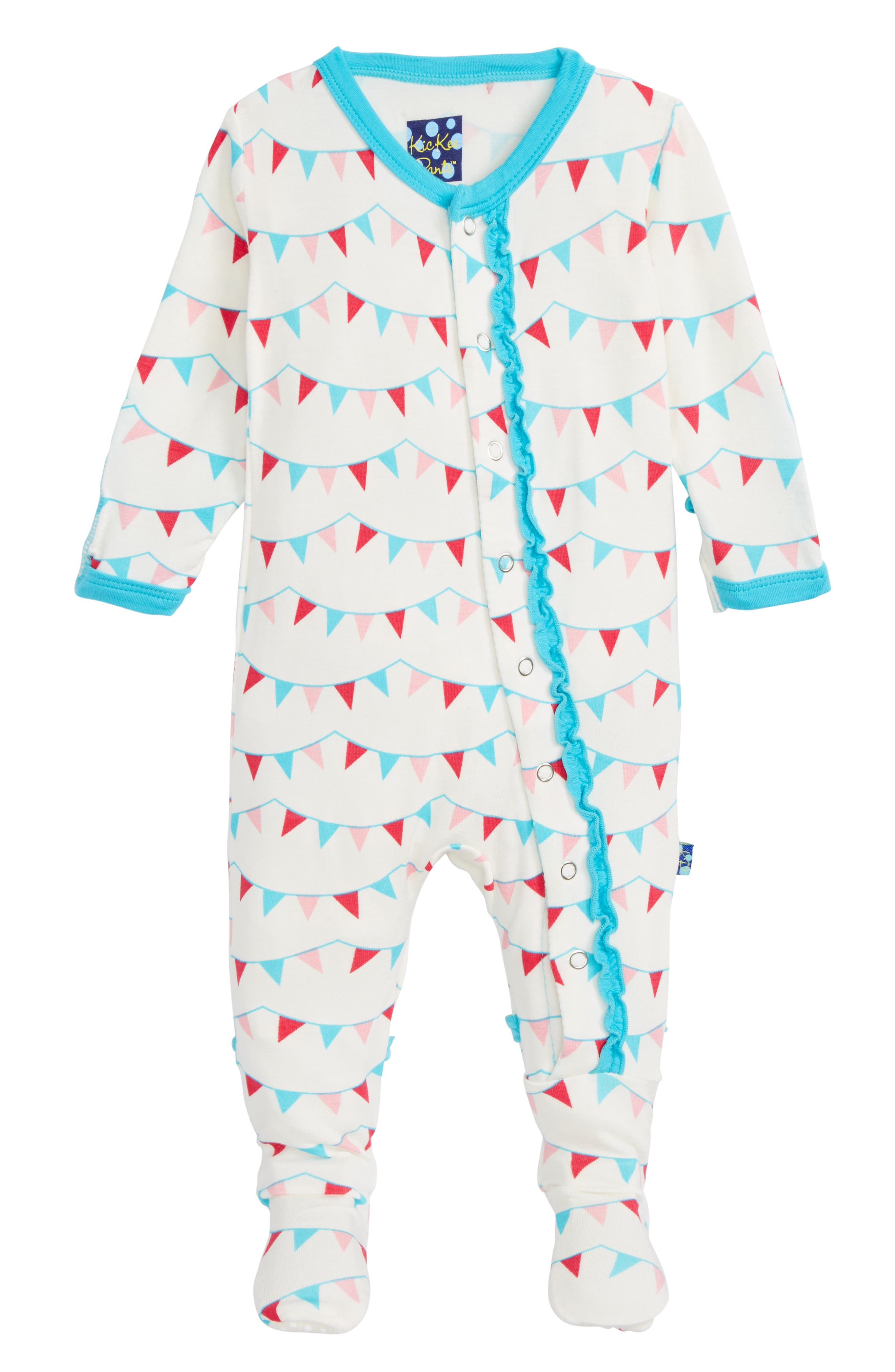 Main Image - Kickee Pants Party Flags Ruffle Footie (Baby Girls)