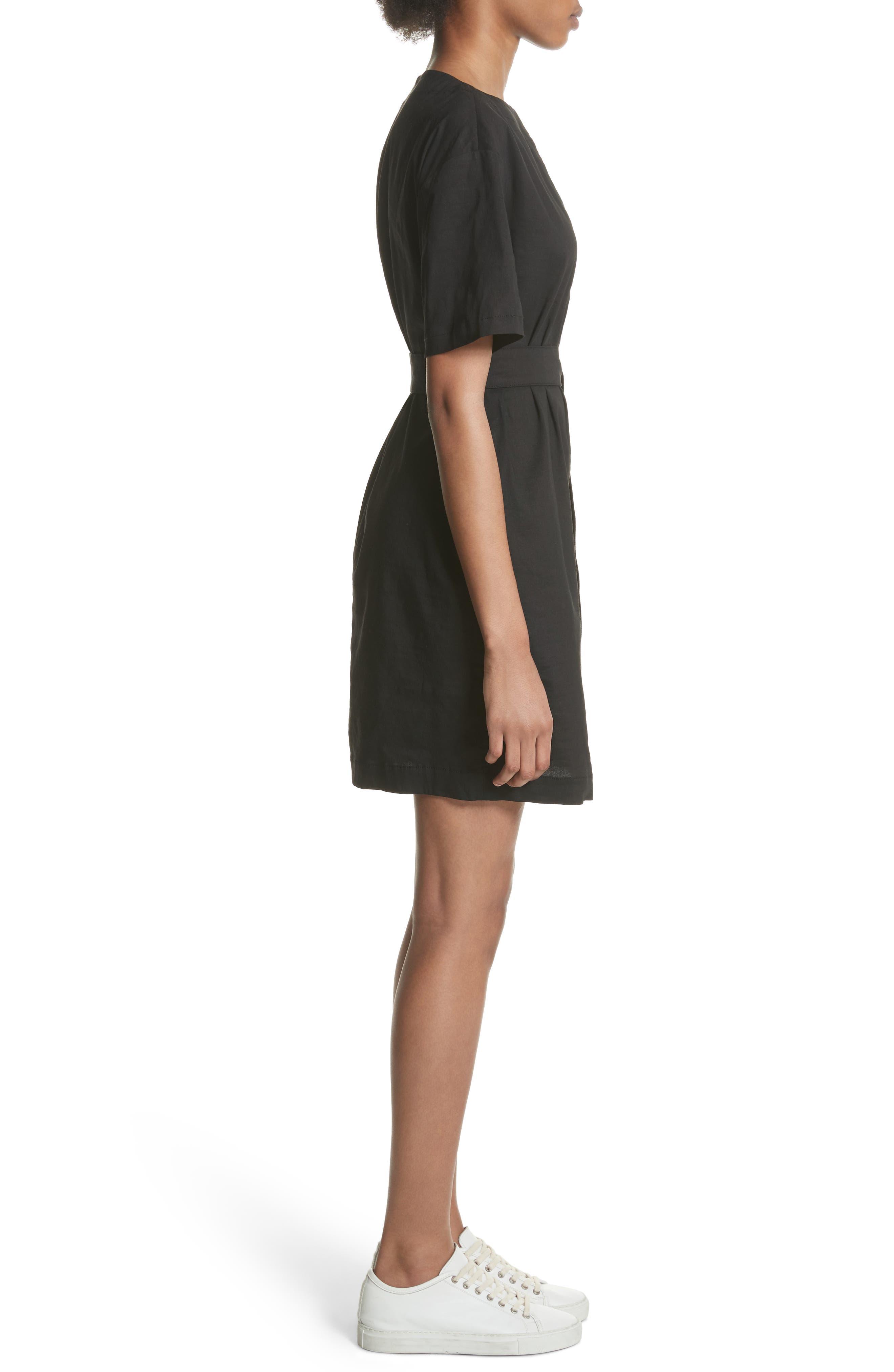 Belted Shift Dress,                             Alternate thumbnail 3, color,                             Black Multi