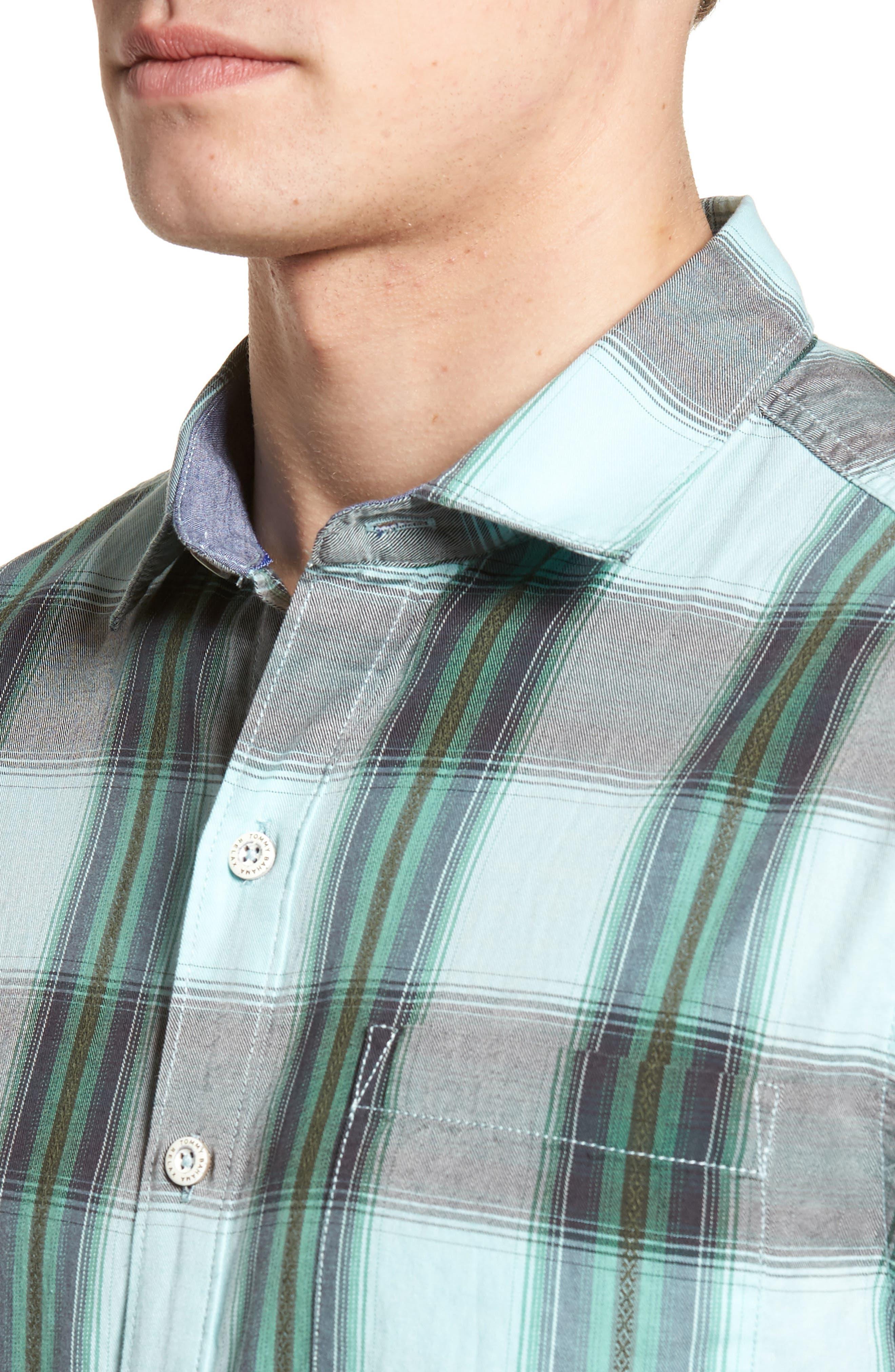 Biscayne Plaid Regular Fit Sport Shirt,                             Alternate thumbnail 4, color,                             Aqua Mist