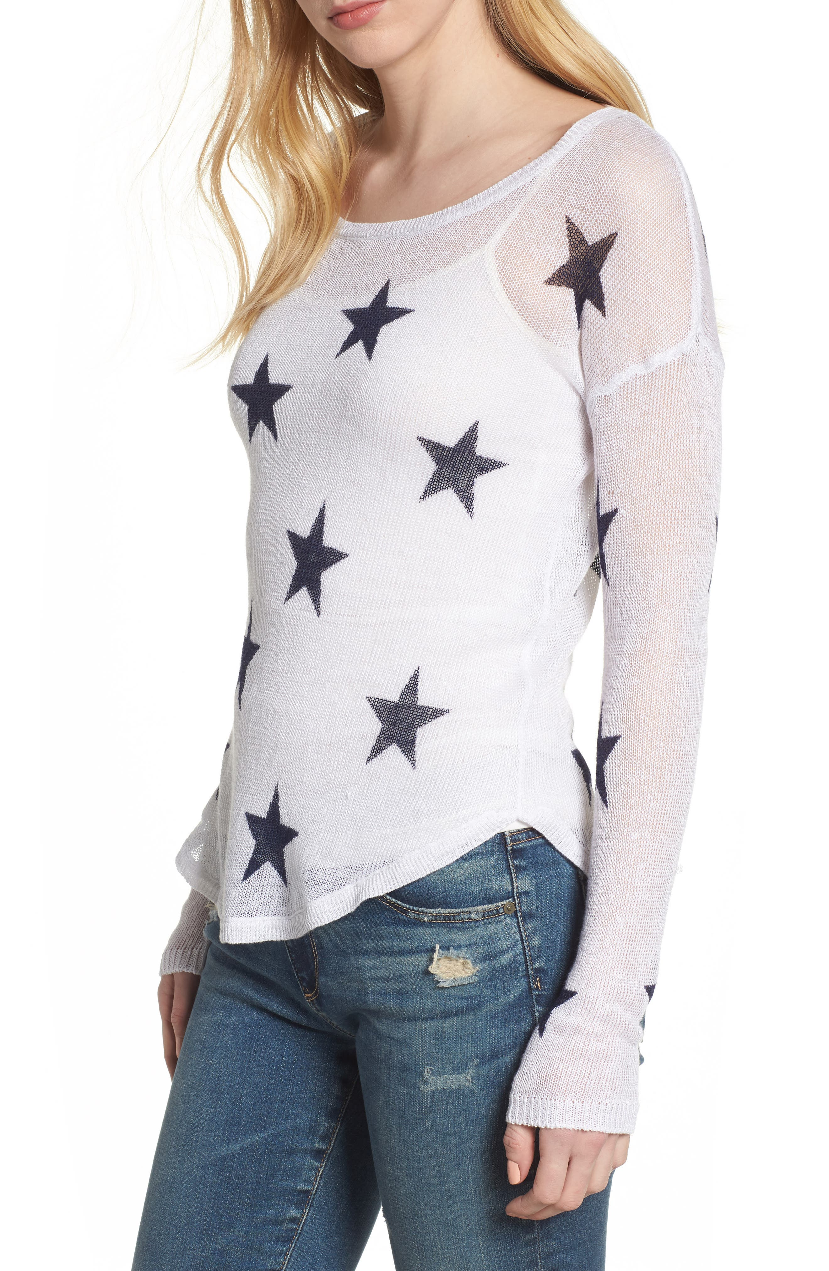 Perri Linen Sweater,                         Main,                         color, White Navy Stars