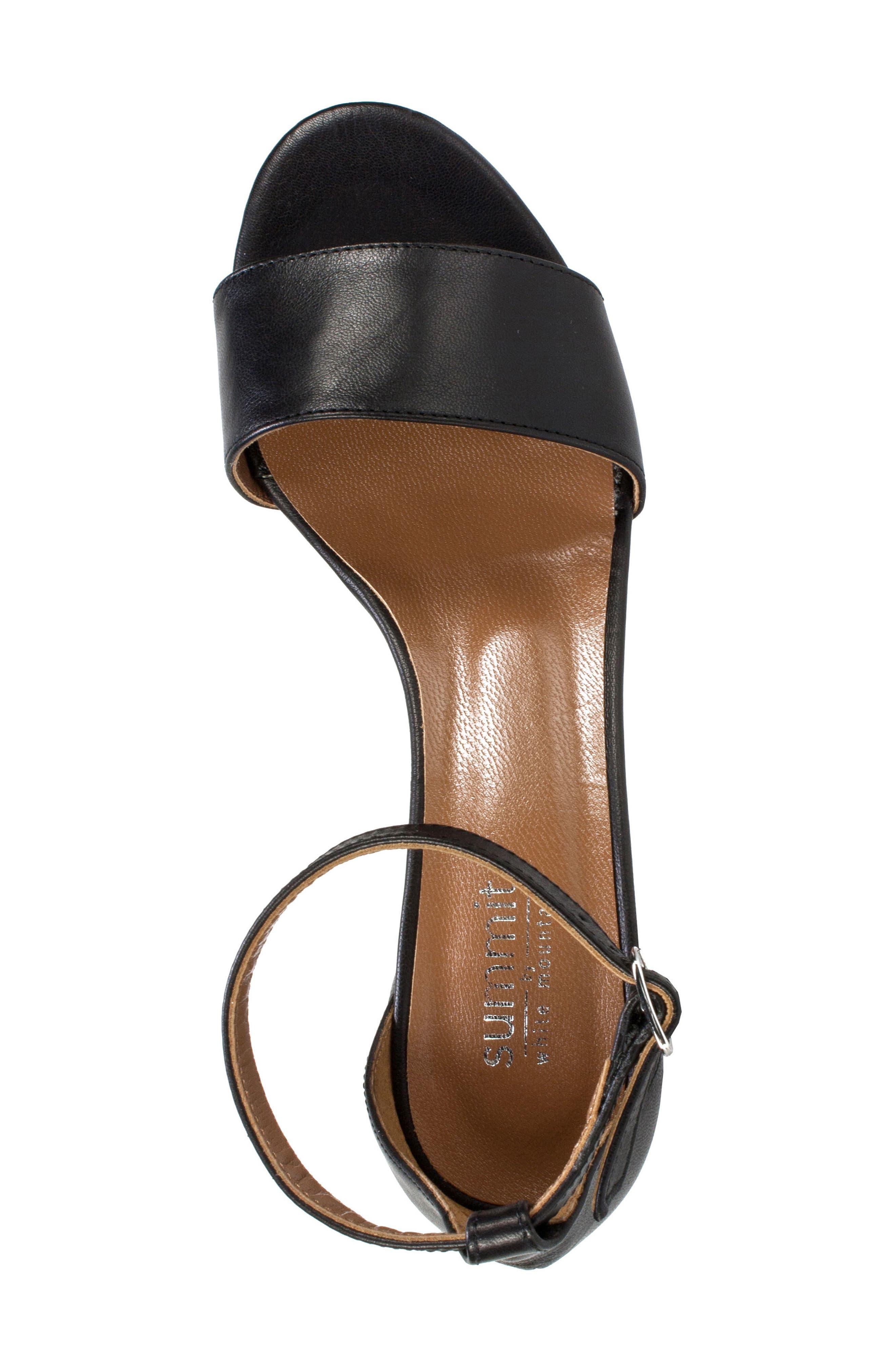 Ameila Block Heel Sandal,                             Alternate thumbnail 5, color,                             Black Leather