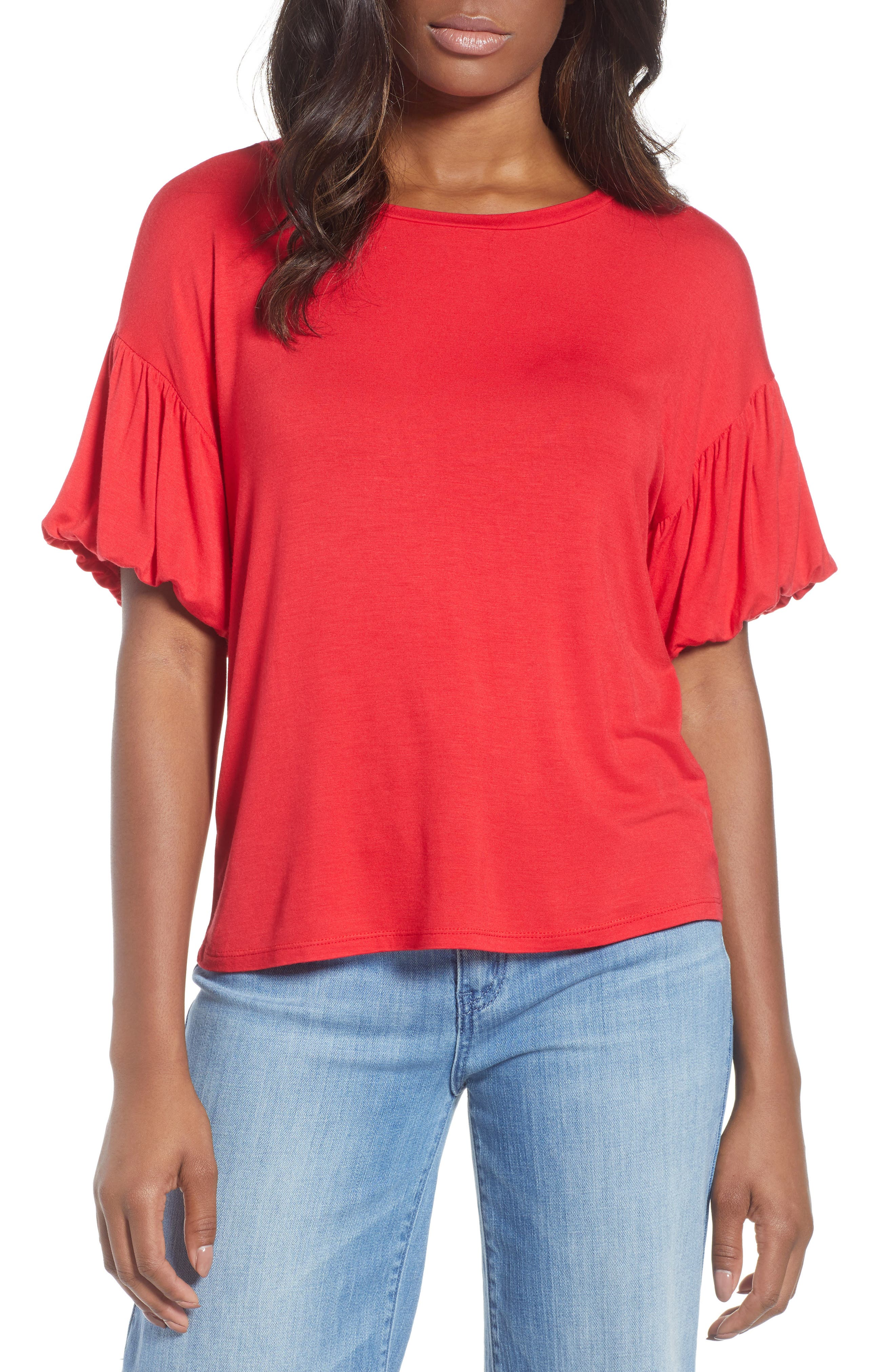 Knit Bubble Sleeve Tee,                             Main thumbnail 1, color,                             Red Lipstick