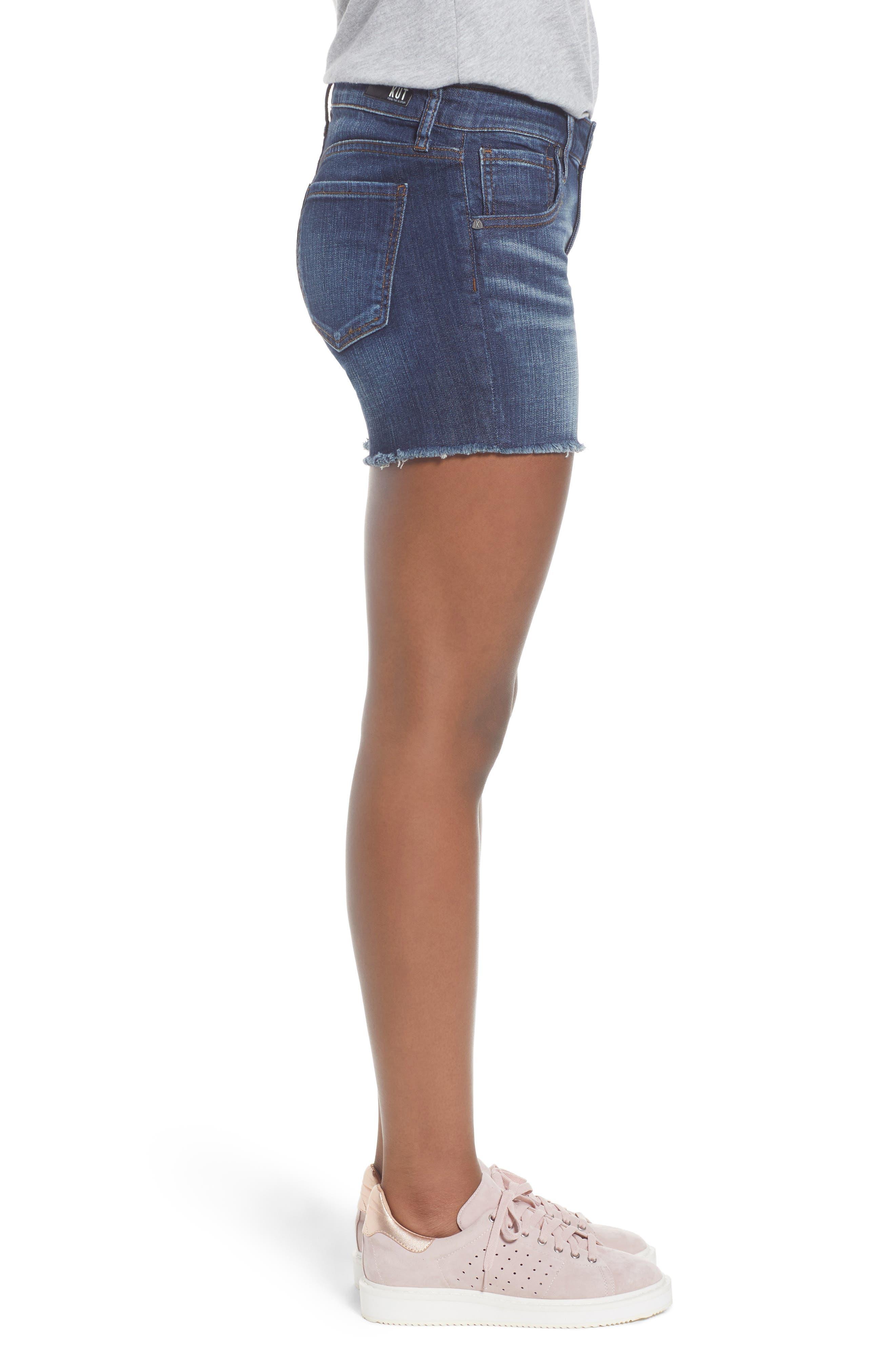 KUT Kollection Gidget Cutoff Denim Shorts,                             Alternate thumbnail 3, color,                             Refine
