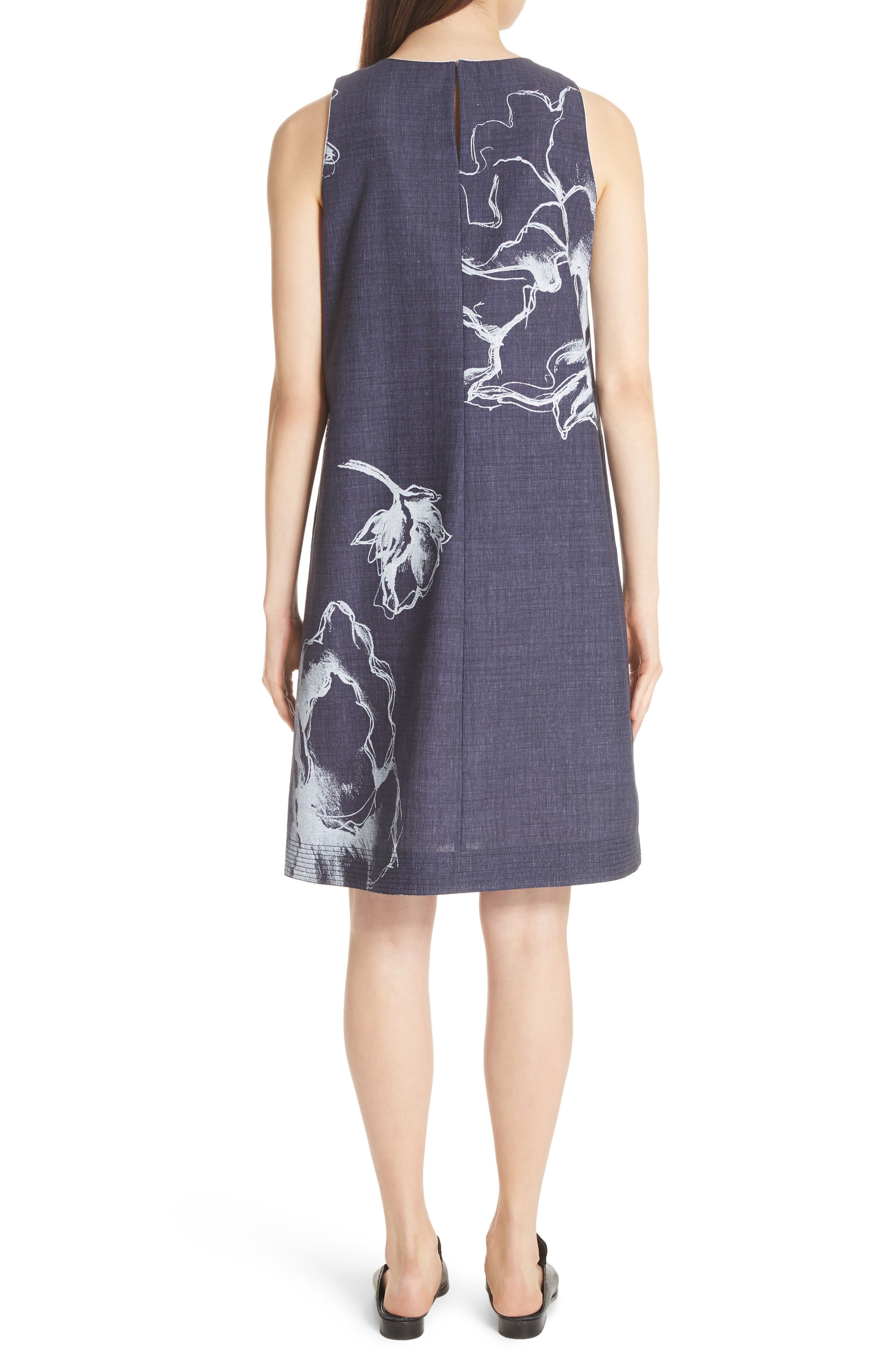 Hana Print Chambray Dress,                             Alternate thumbnail 2, color,                             Ink Multi