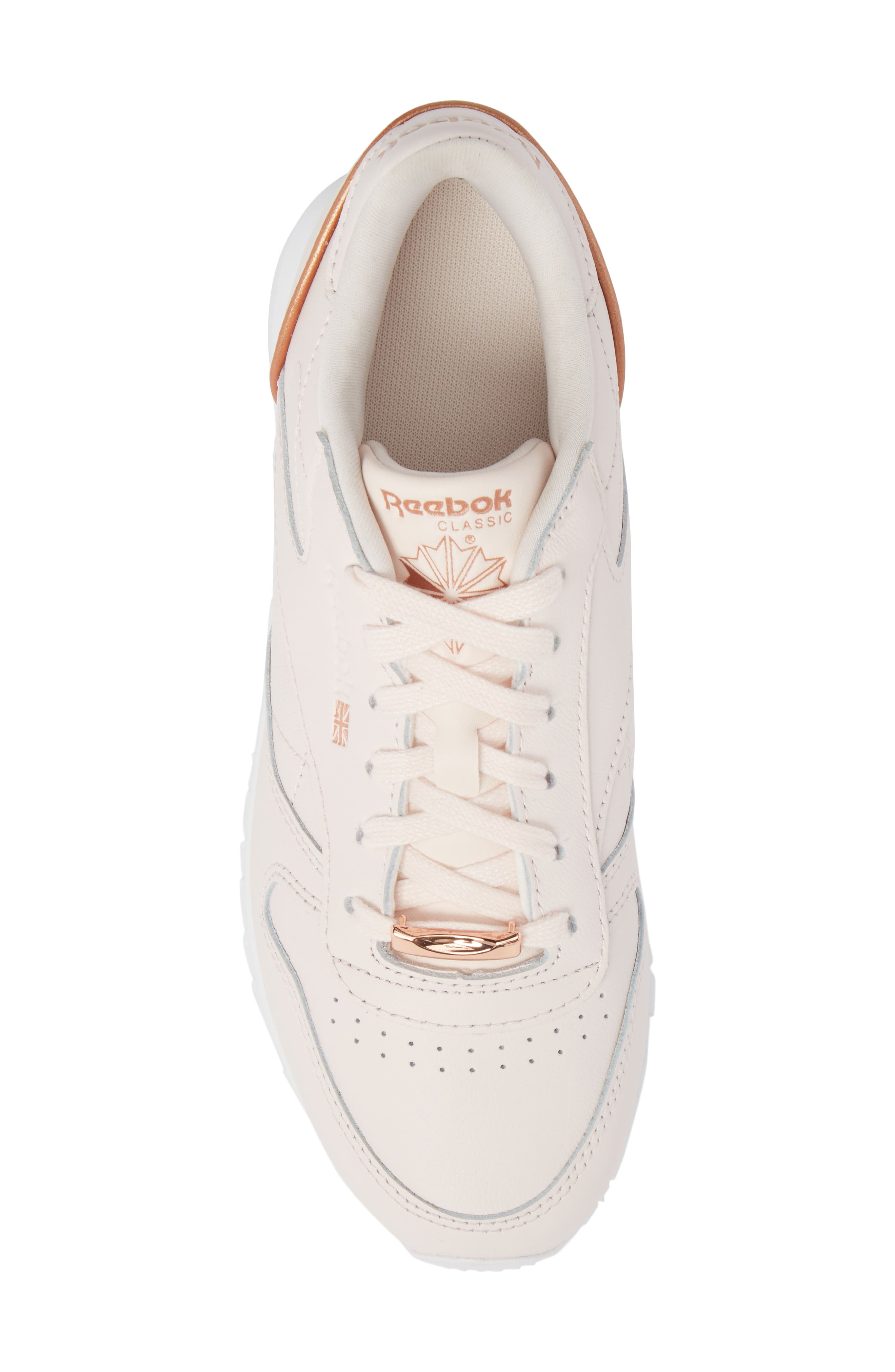 Classic Leather HW Sneaker,                             Alternate thumbnail 5, color,                             Pale Pink/ White/ Rose Gold
