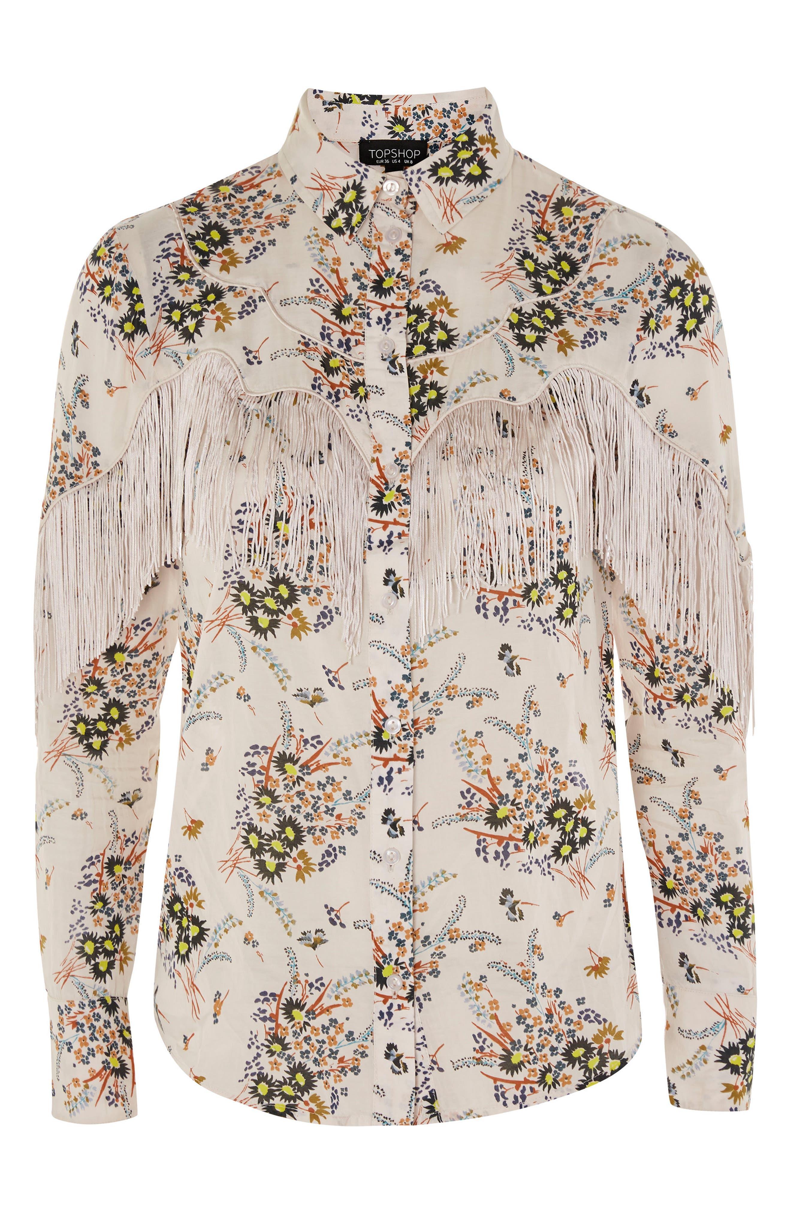 Rodeo Fringe Floral Shirt,                             Alternate thumbnail 3, color,                             Ivory Multi