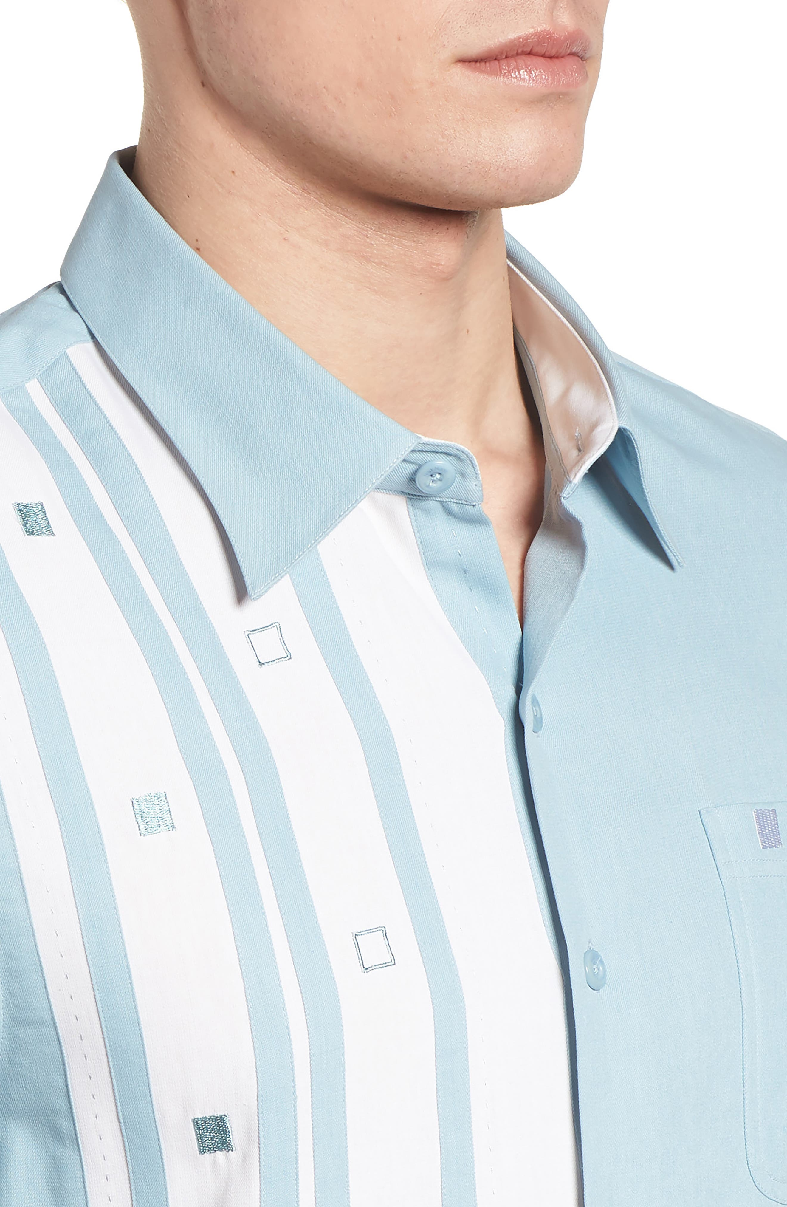Retromod Camp Shirt,                             Alternate thumbnail 4, color,                             Niagra Blue
