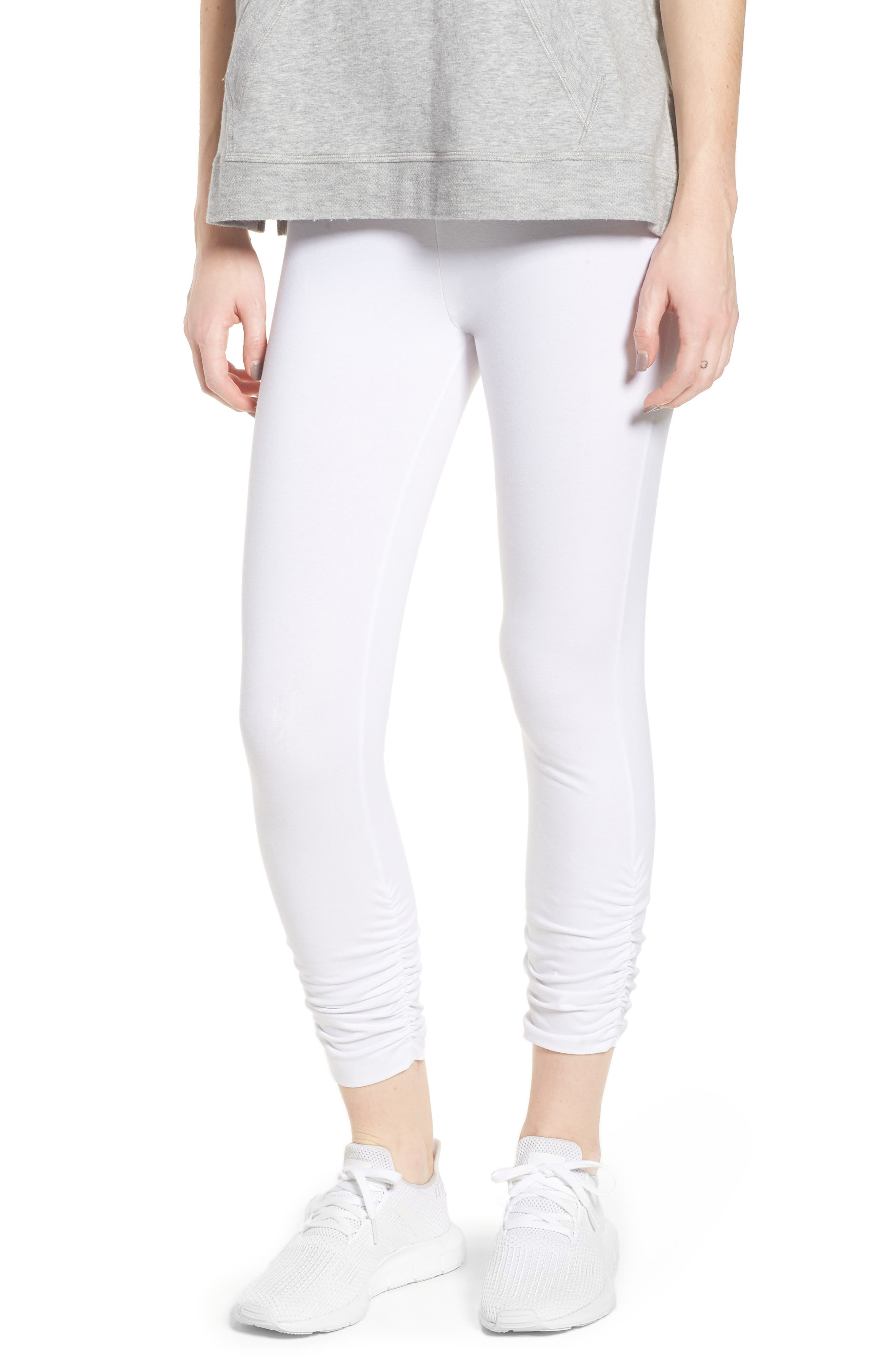 Scrunched Leggings,                         Main,                         color, White