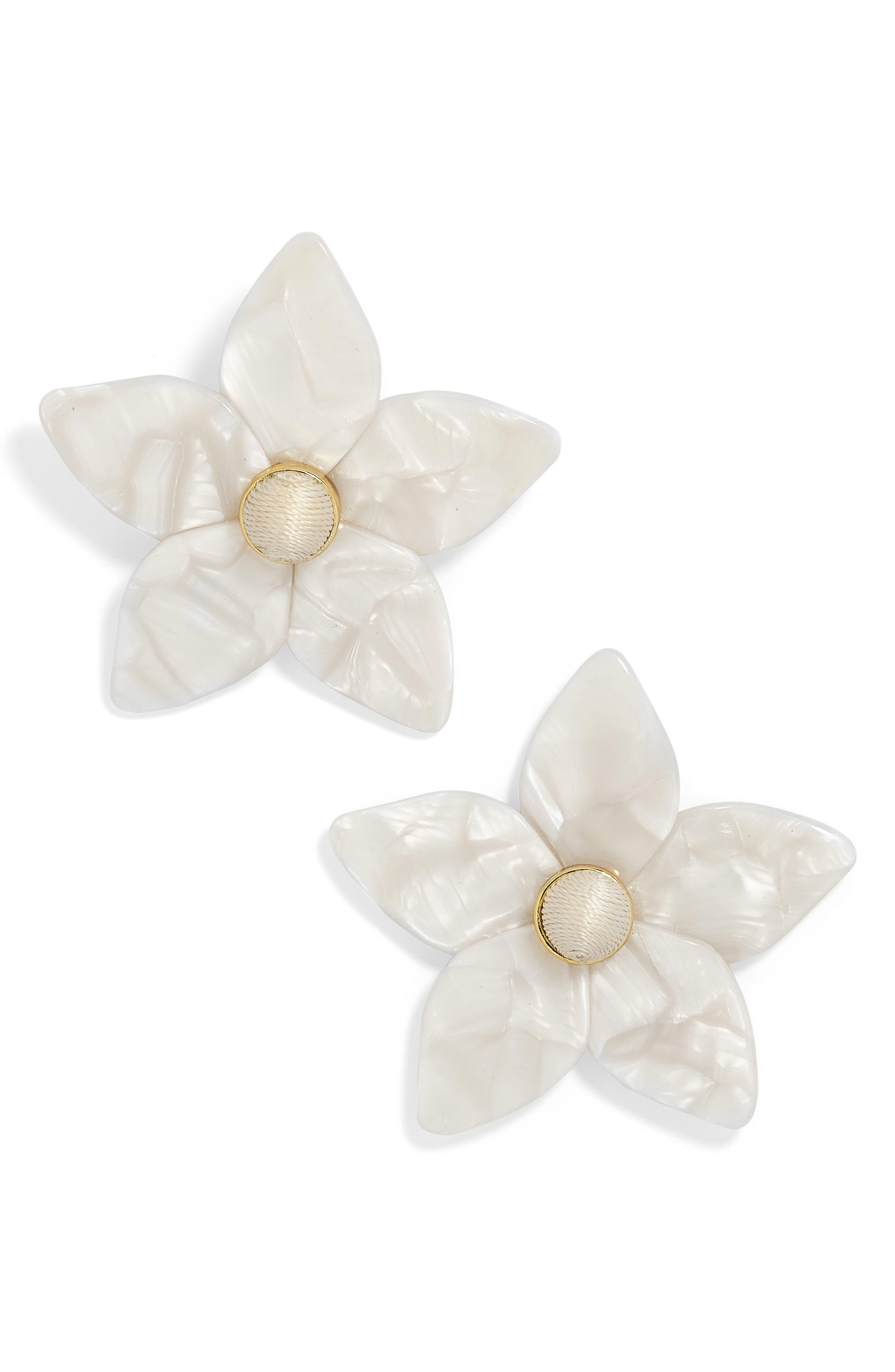 Amariella Acrylic Flower Stud Earrings,                             Main thumbnail 1, color,                             White