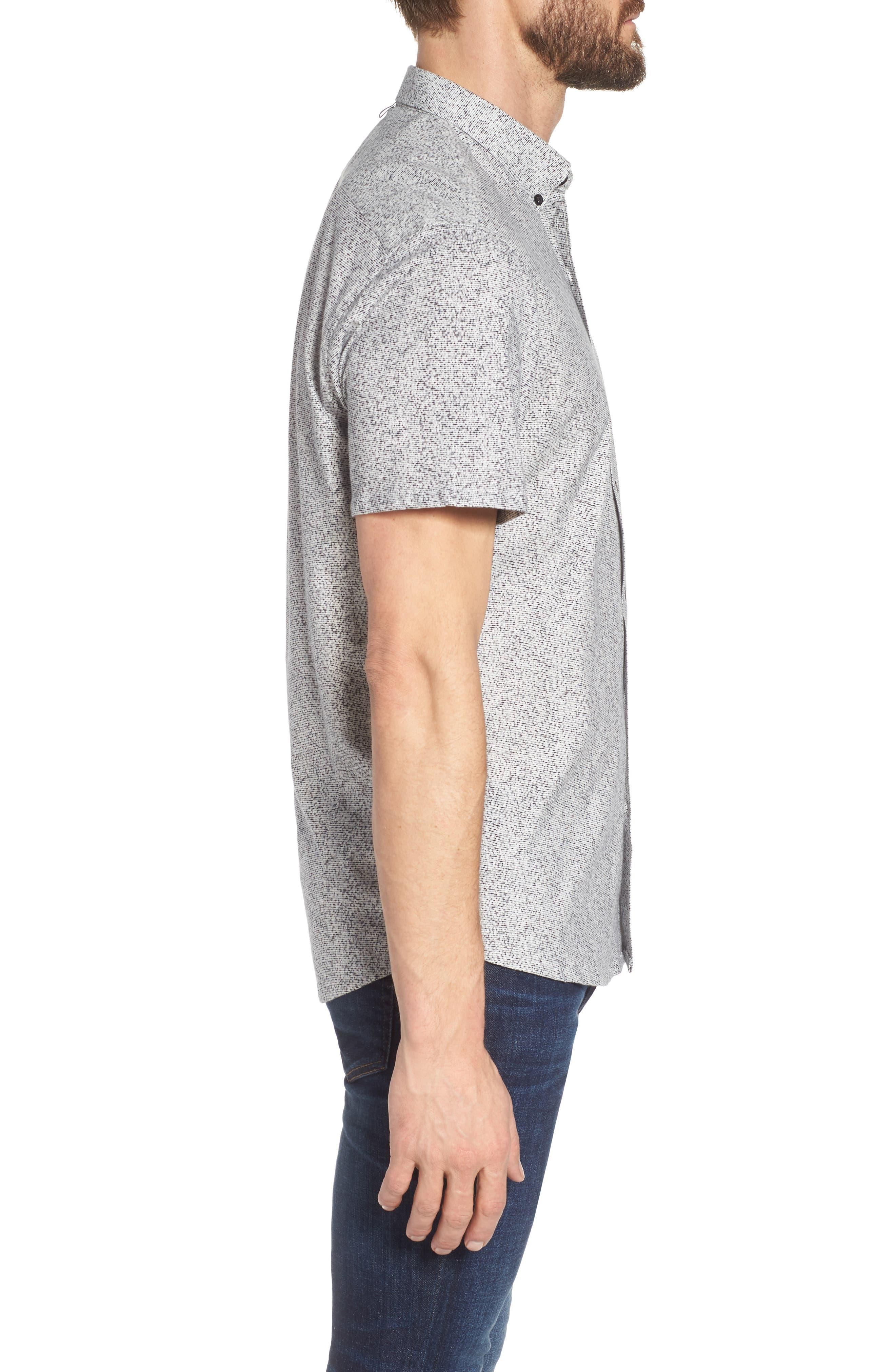 Rework Slim Fit Dot Print Sport Shirt,                             Alternate thumbnail 3, color,                             Black