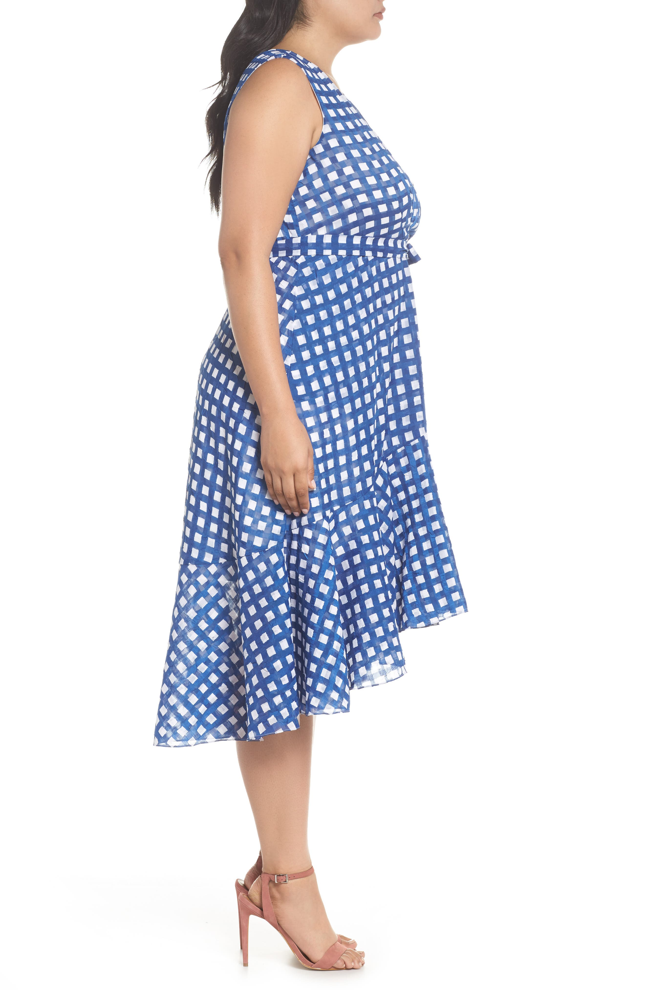Ruffle High/Low Dress,                             Alternate thumbnail 4, color,                             Ivory/ Blue