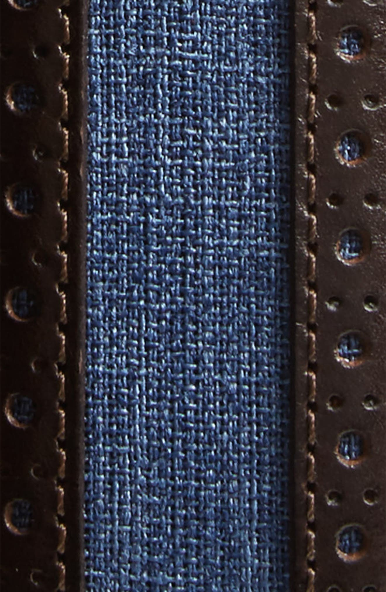 Palma Linen & Leather Belt,                             Alternate thumbnail 2, color,                             Brown/ Blue
