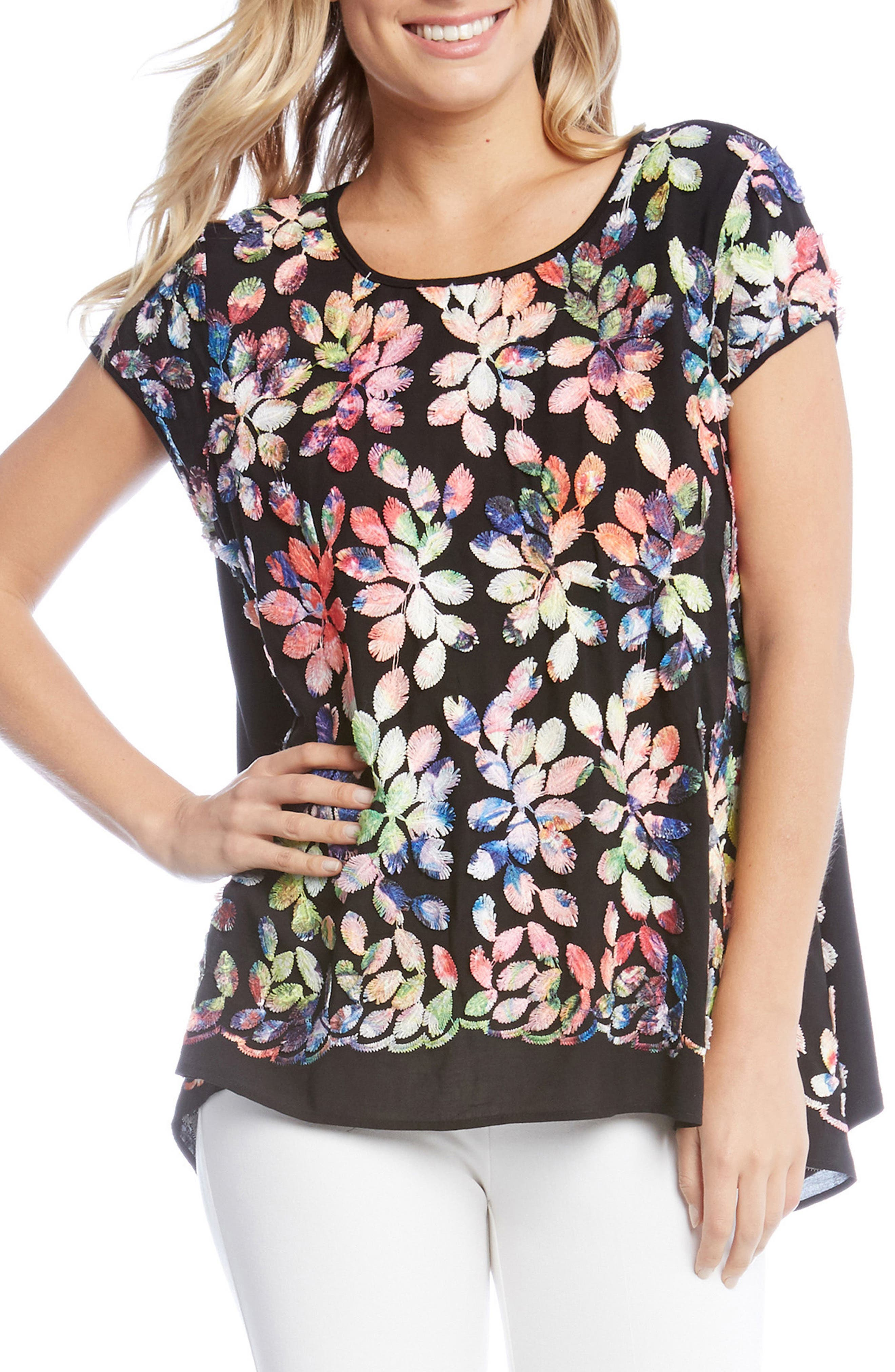 Rainbow Leaf Embroidered Top,                             Main thumbnail 1, color,                             Multicolored