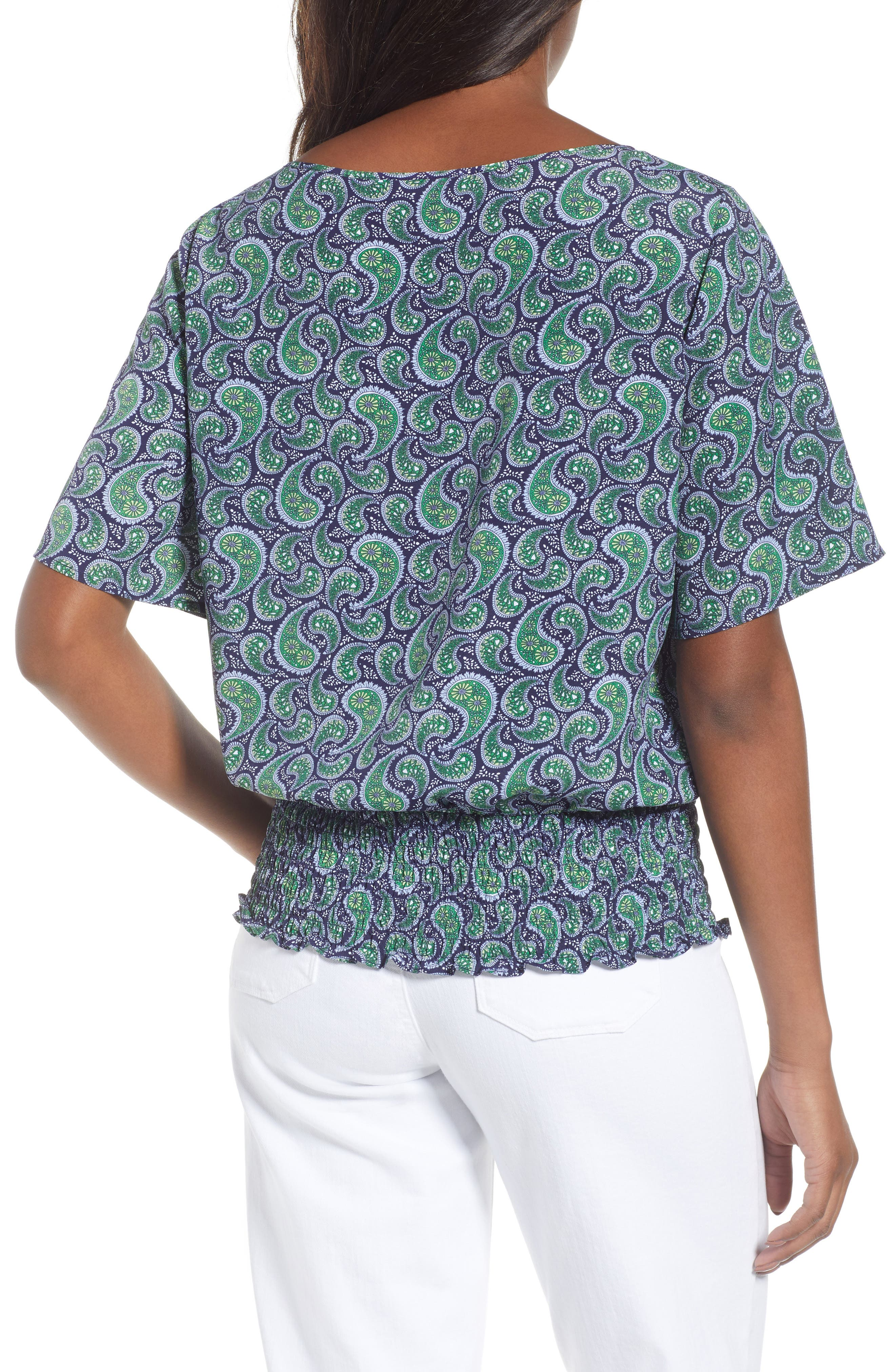 Kimono Sleeve Paisley Top,                             Alternate thumbnail 2, color,                             True Navy/Green Apple Mu
