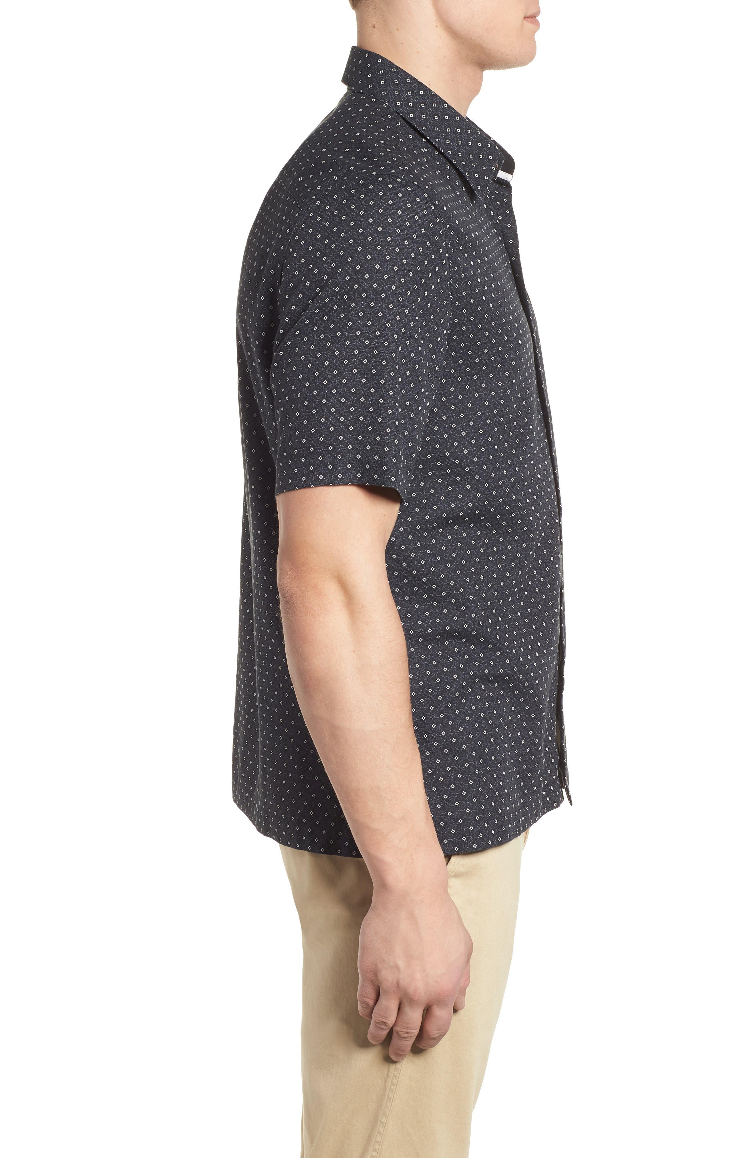 Fleural Camp Shirt,                             Alternate thumbnail 3, color,                             Black