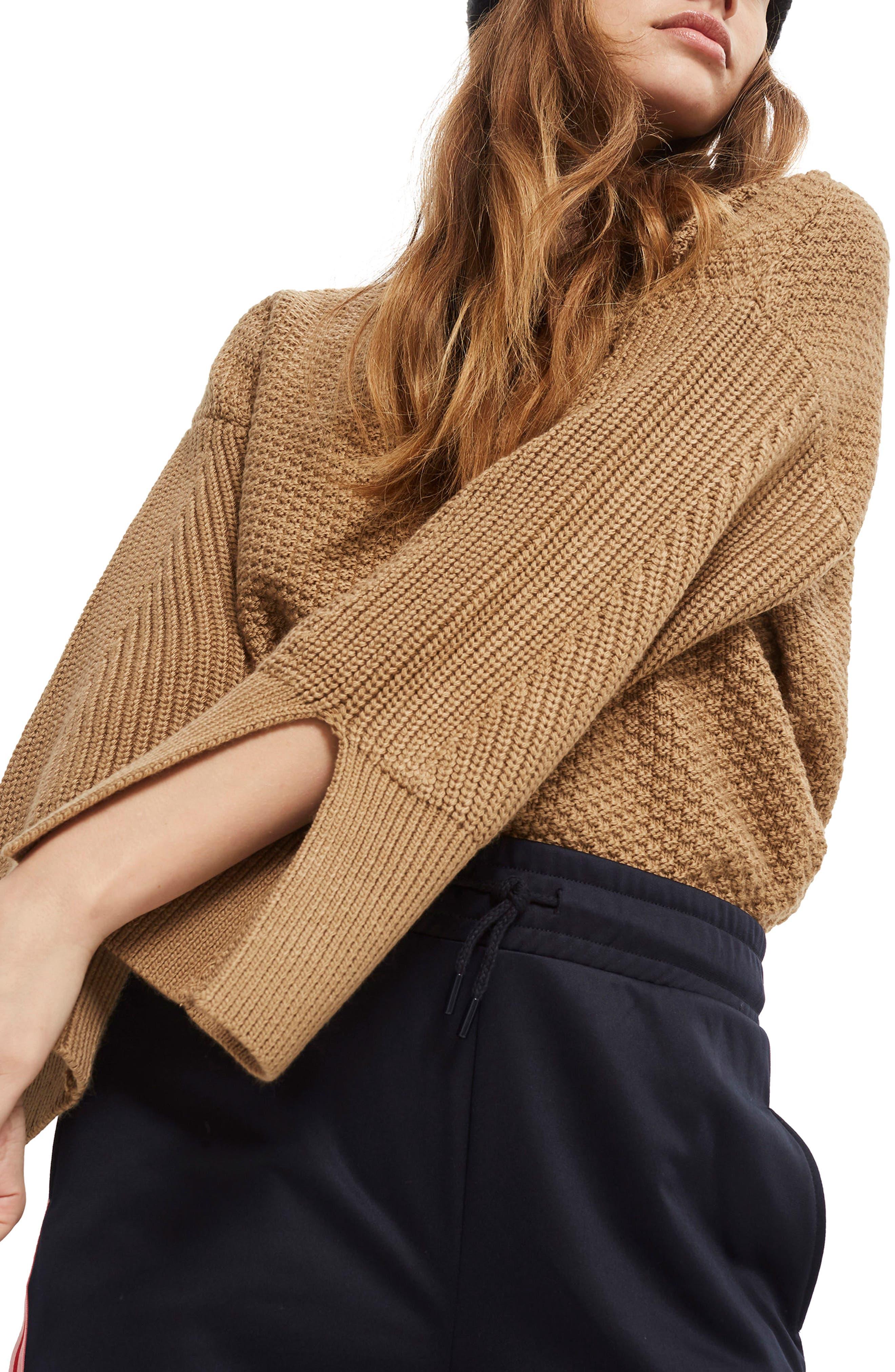 Petite Moss Stitch Sweater,                             Main thumbnail 1, color,                             Camel