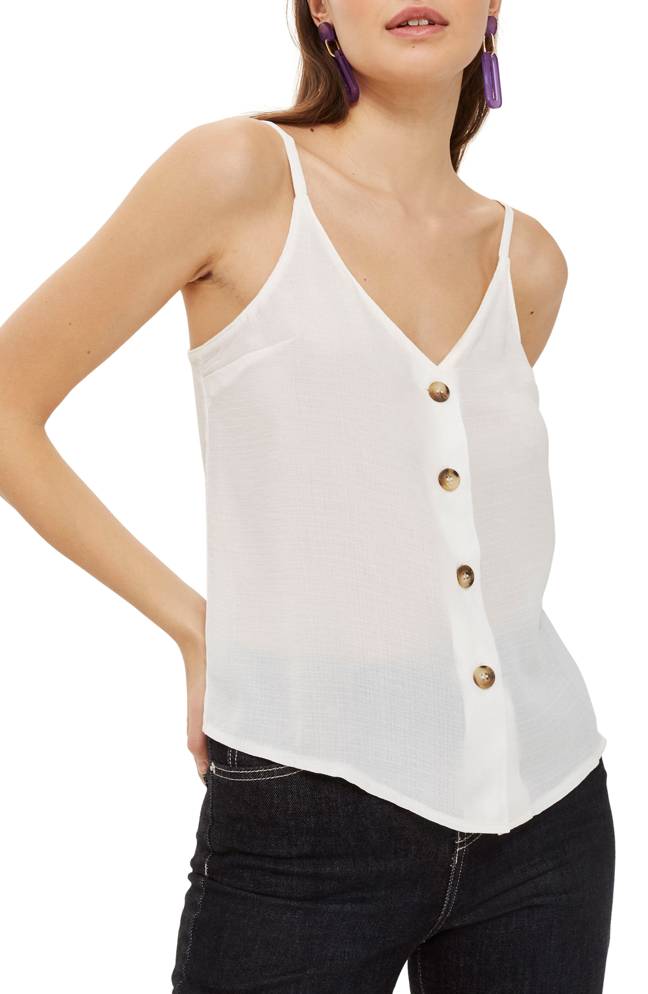 Button Front Camisole,                         Main,                         color, Ivory