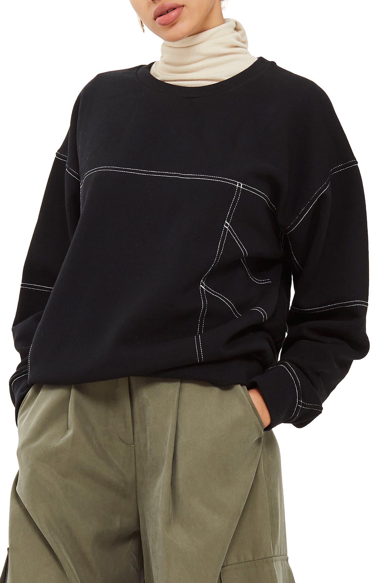 Stab Stitch Detail Sweatshirt,                         Main,                         color, Black