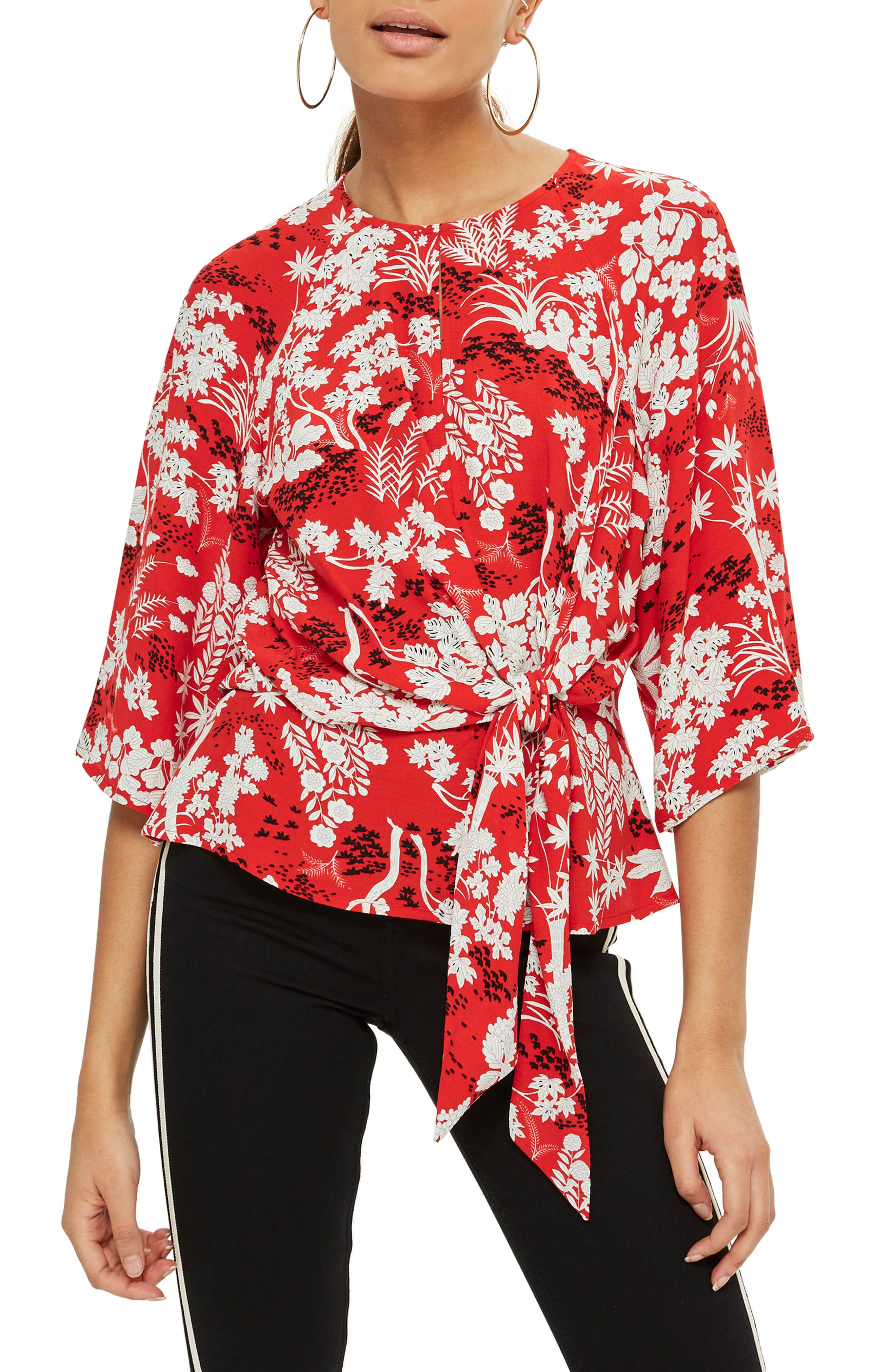 Fern Knot Front Blouse,                         Main,                         color, Red Multi