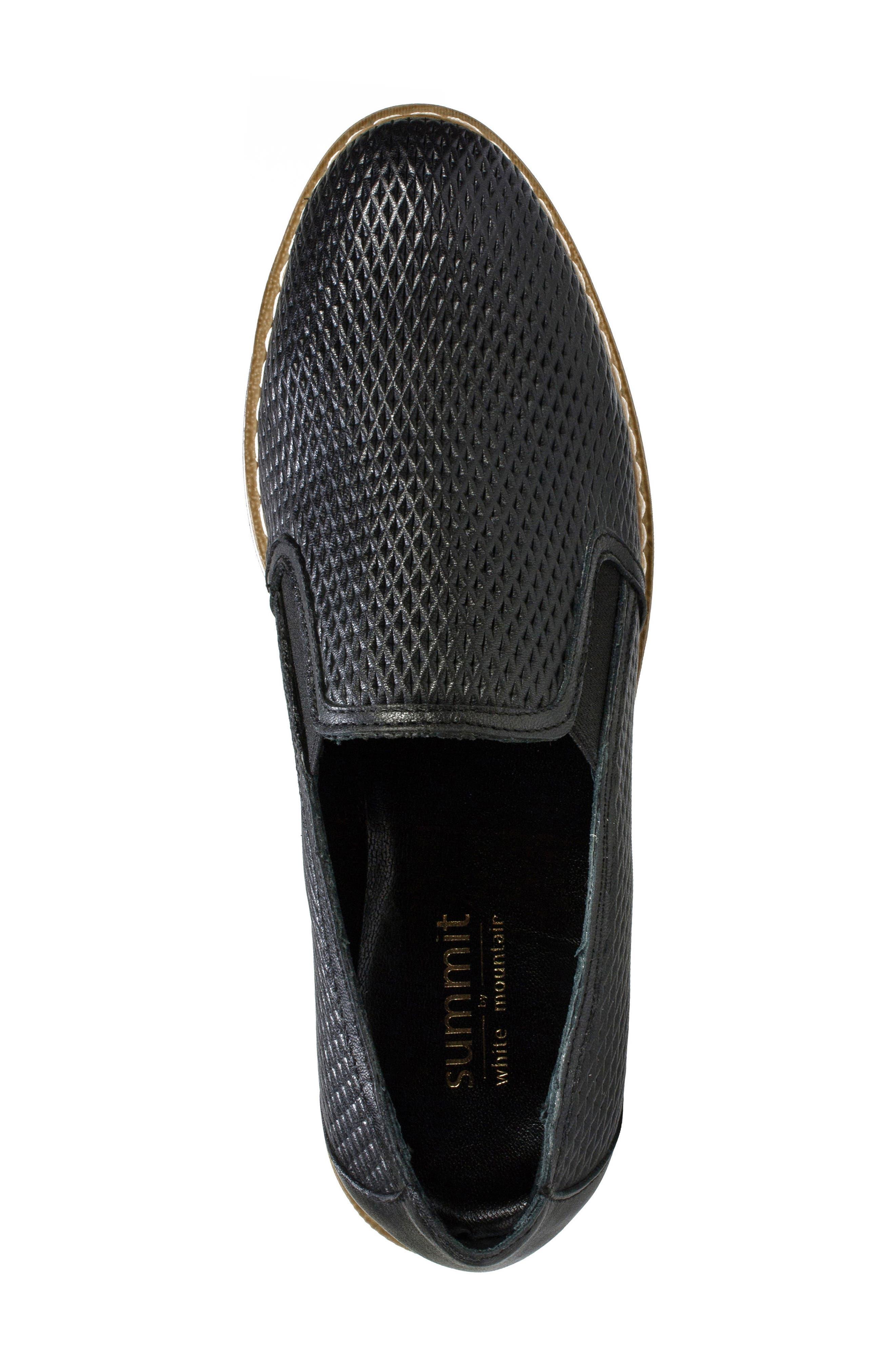 Belton Platform Slip-On,                             Alternate thumbnail 5, color,                             Black Textured Leather