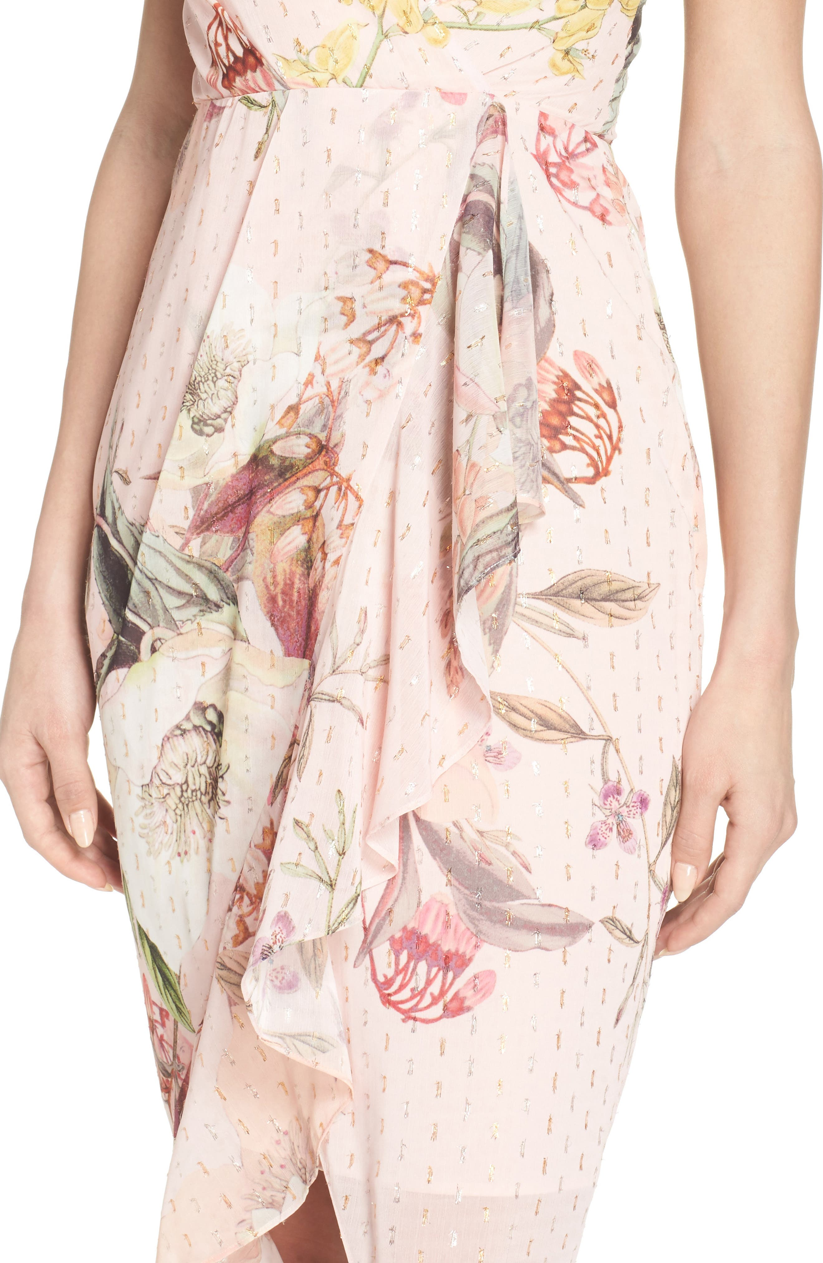 Flora Fade Drape Dress,                             Alternate thumbnail 4, color,                             Print