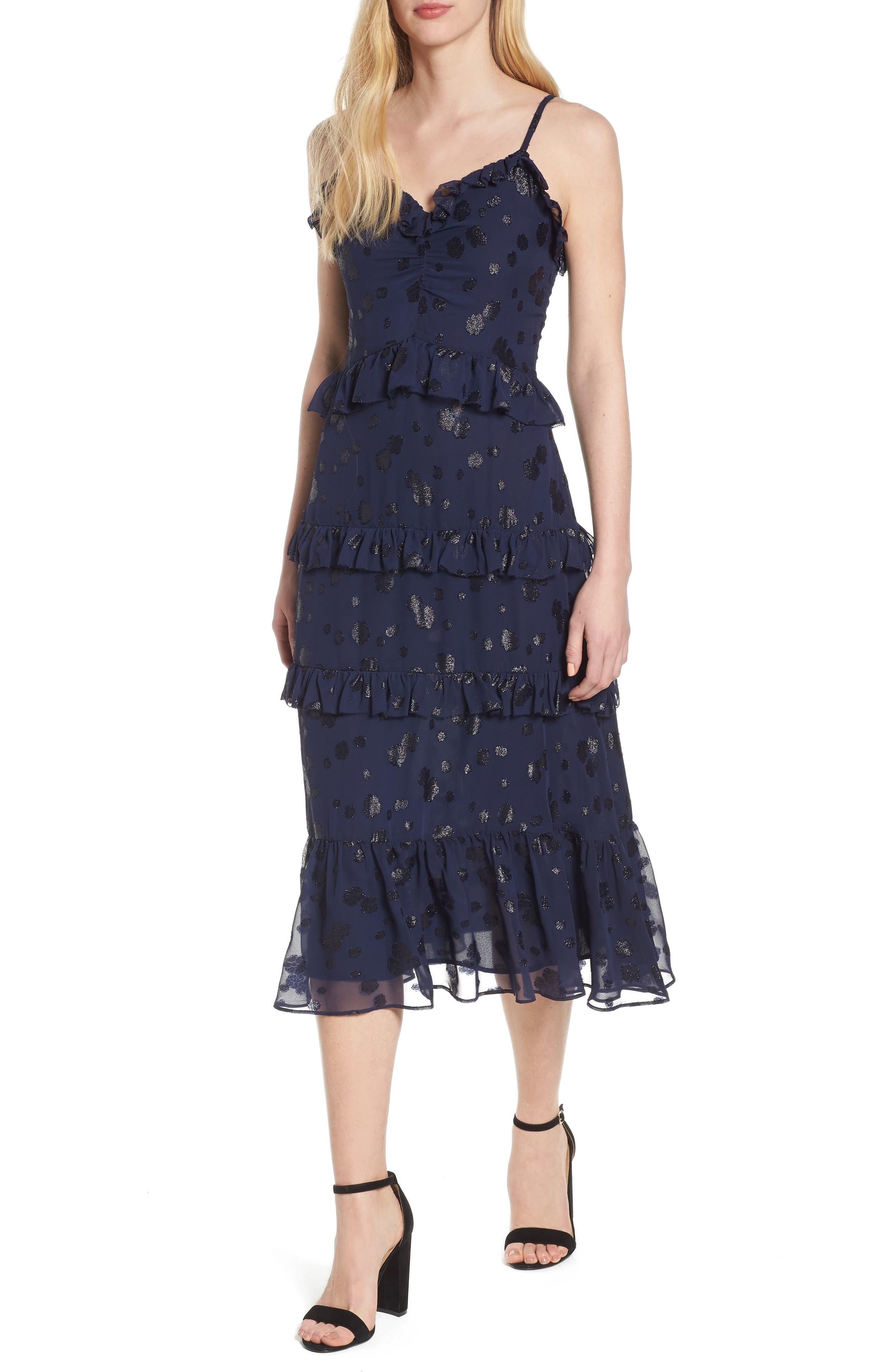 Tiered Ruffle Dress,                         Main,                         color, True Navy
