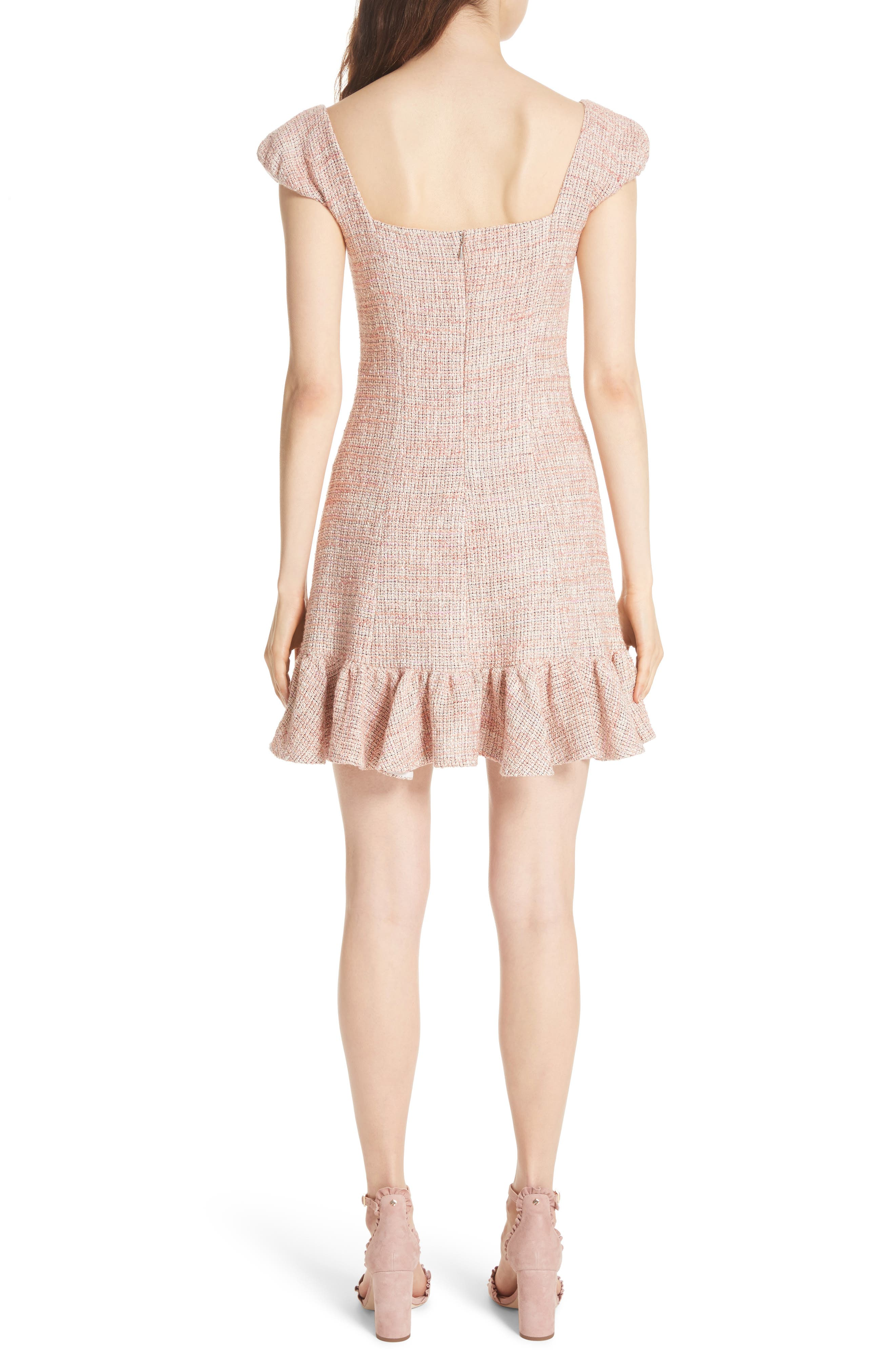 Cap Sleeve Tweed Dress,                             Alternate thumbnail 2, color,                             Rosy Nude Combo