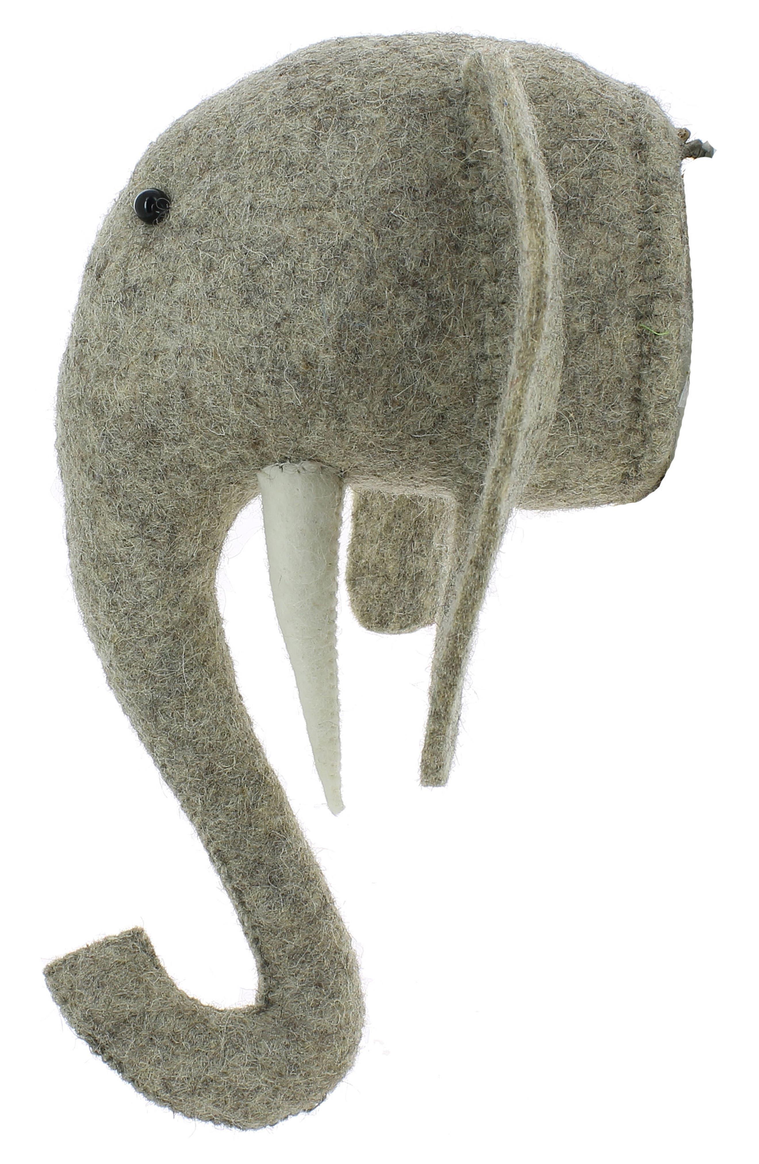 Mini Elephant Head Wall Art,                             Alternate thumbnail 5, color,                             Grey
