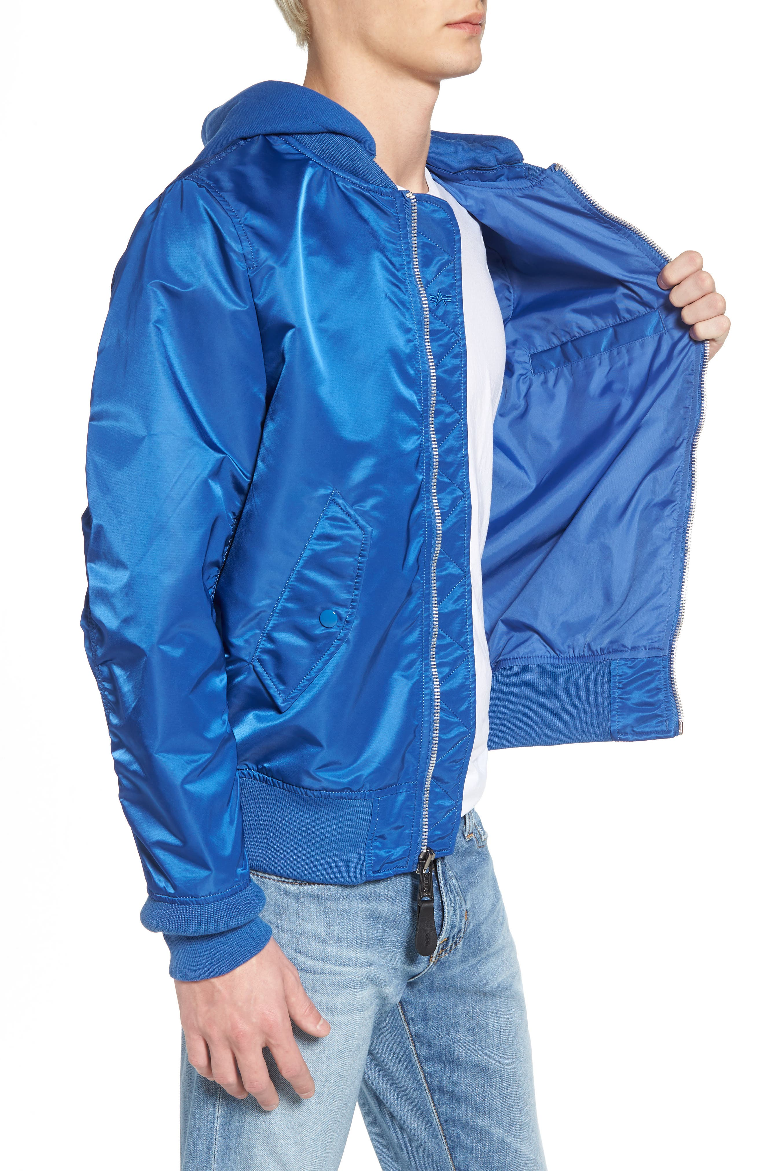 L-2B Natus Water Resistant Flight Jacket,                             Alternate thumbnail 3, color,                             Pacific Blue