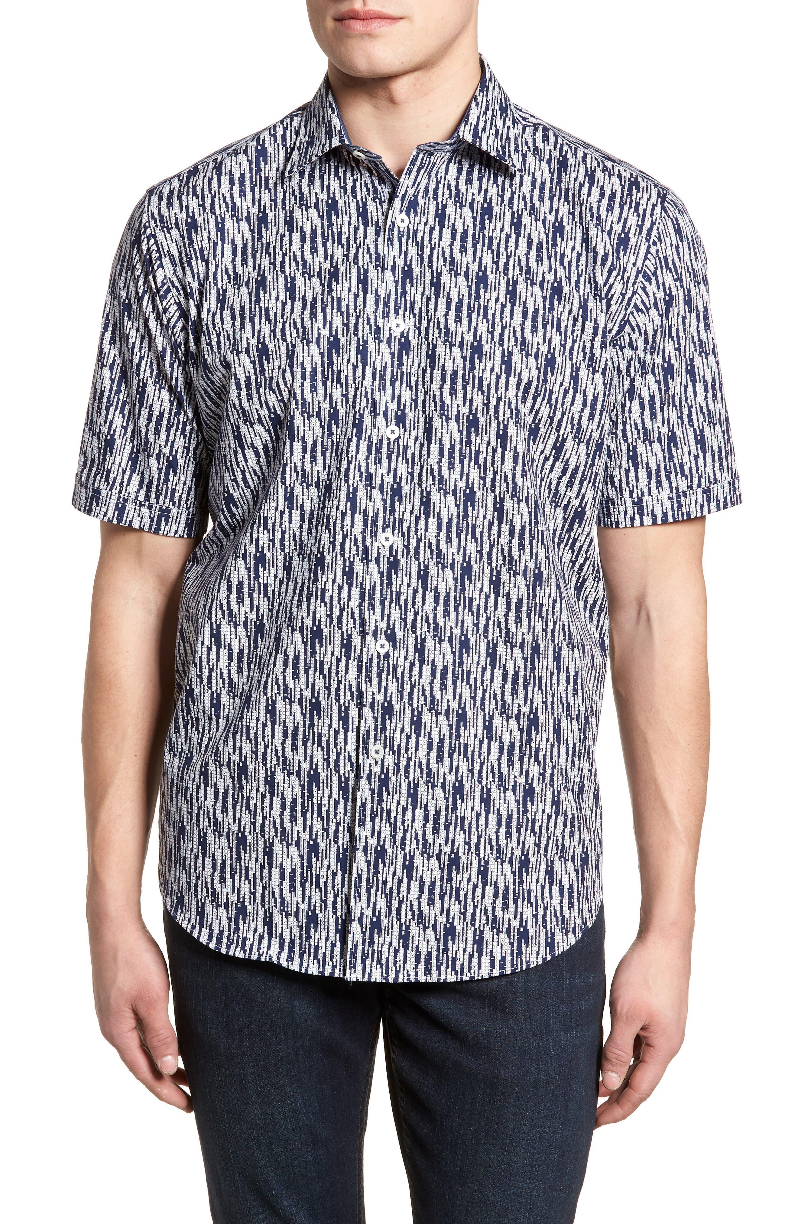 Classic Fit Dots Circles & Spaces Sport Shirt,                         Main,                         color, Navy