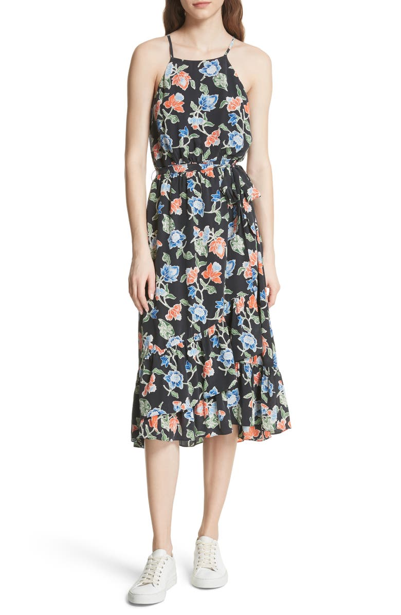 Deme Floral High/Low Silk Dress