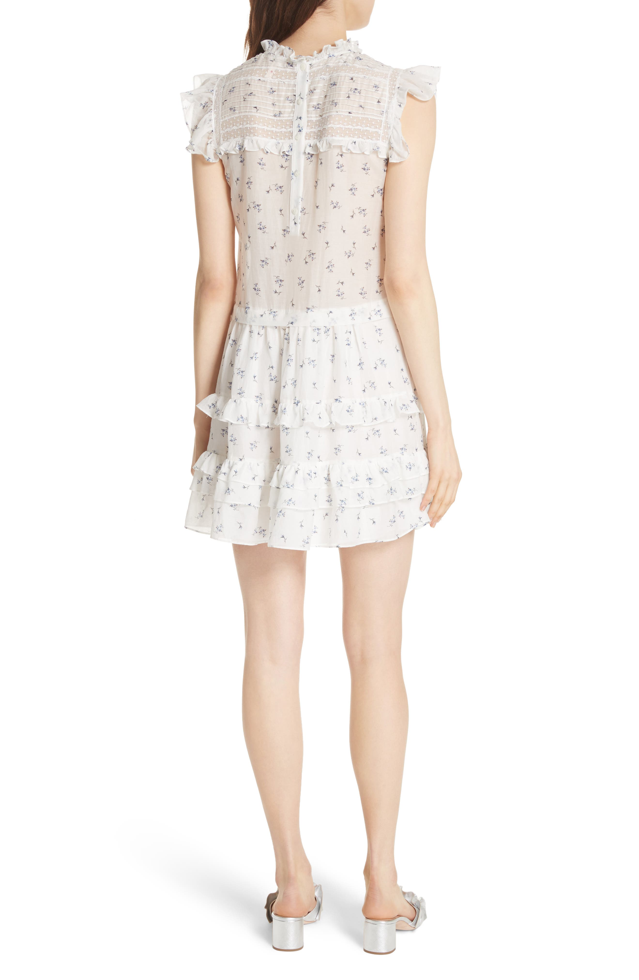 Floral Spring A-Line Dress,                             Alternate thumbnail 2, color,                             Snow Combo
